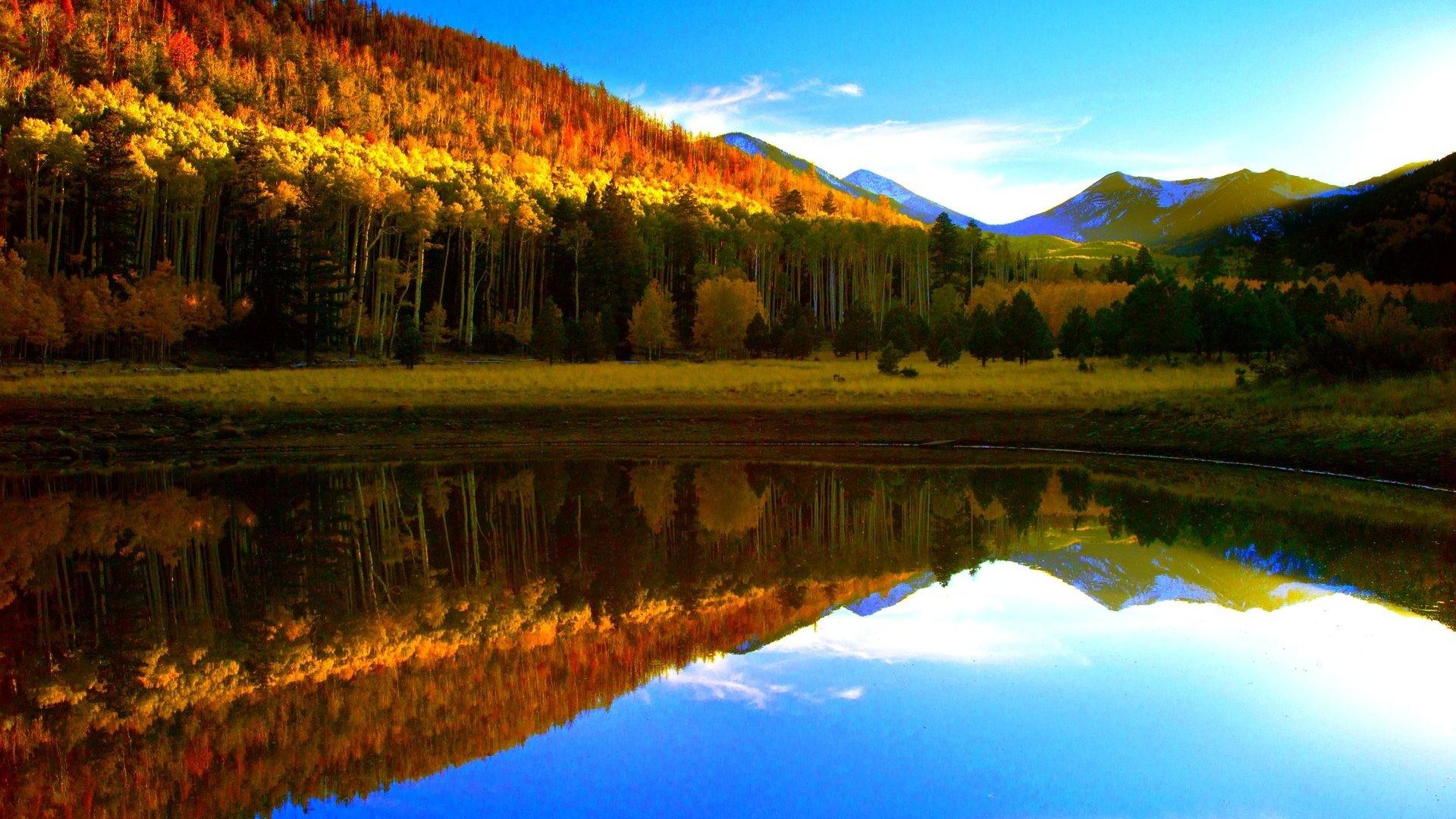 #55BBEE Color – Light Autumn Reflection Fall Mountain Lake Tahoe Desktop  Wallpaper for HD 16
