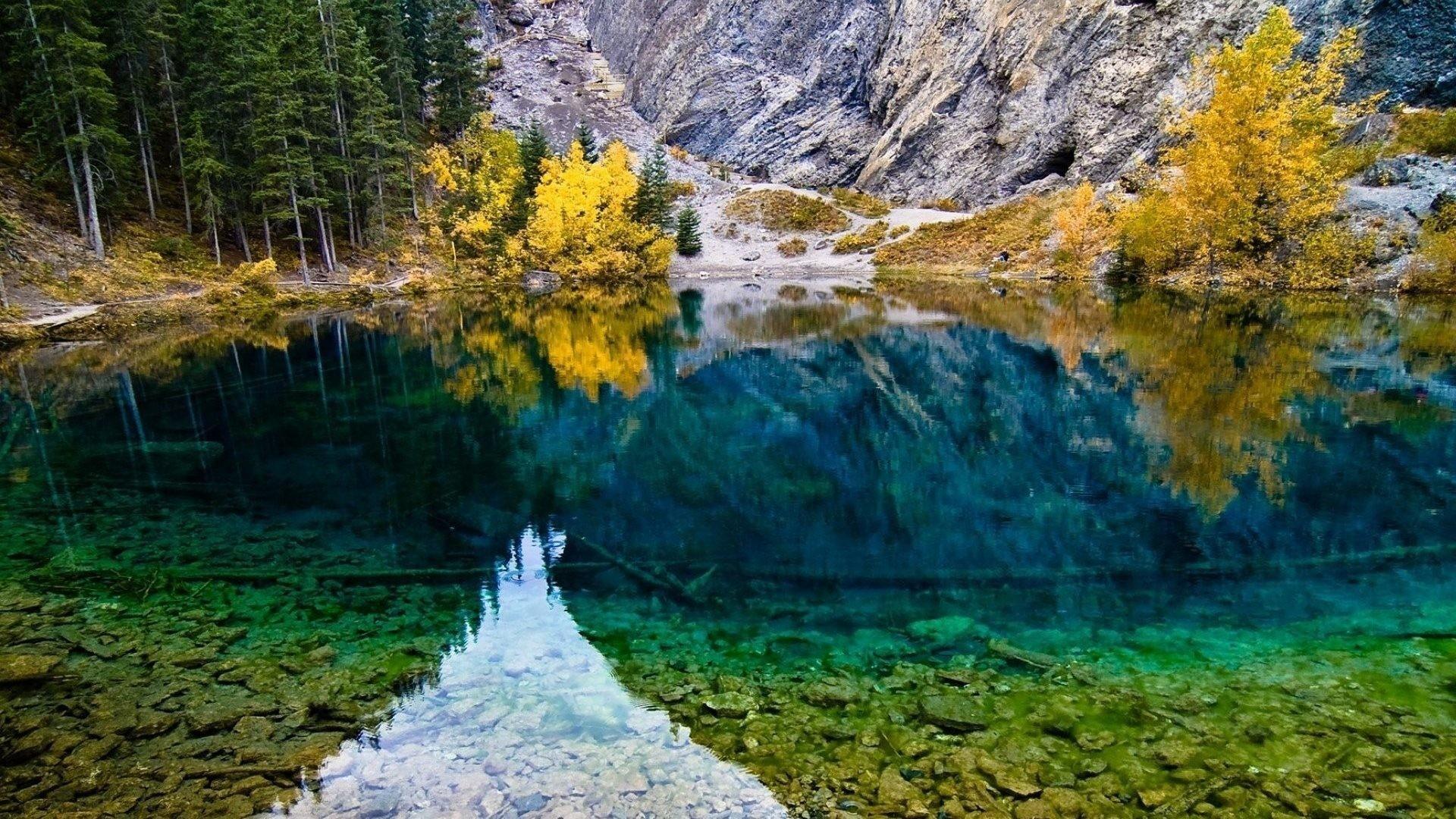 Reflection Rocks Autumn Mountain Lake Trees Forest Full Hd Desktop Nature  Wallpaper