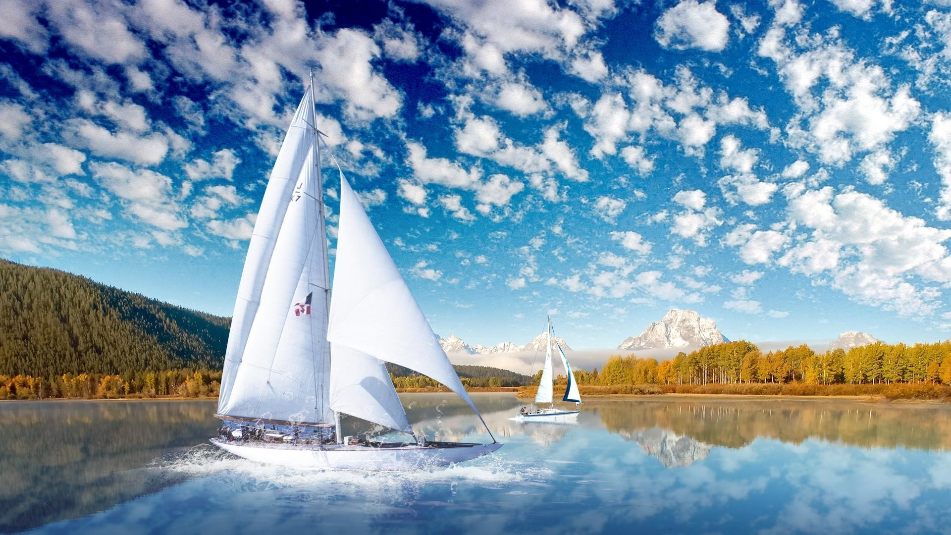 high definition Lake and sailing scenic backgrounds wide  wallpapers:1280×800,1440×900,1680×1050