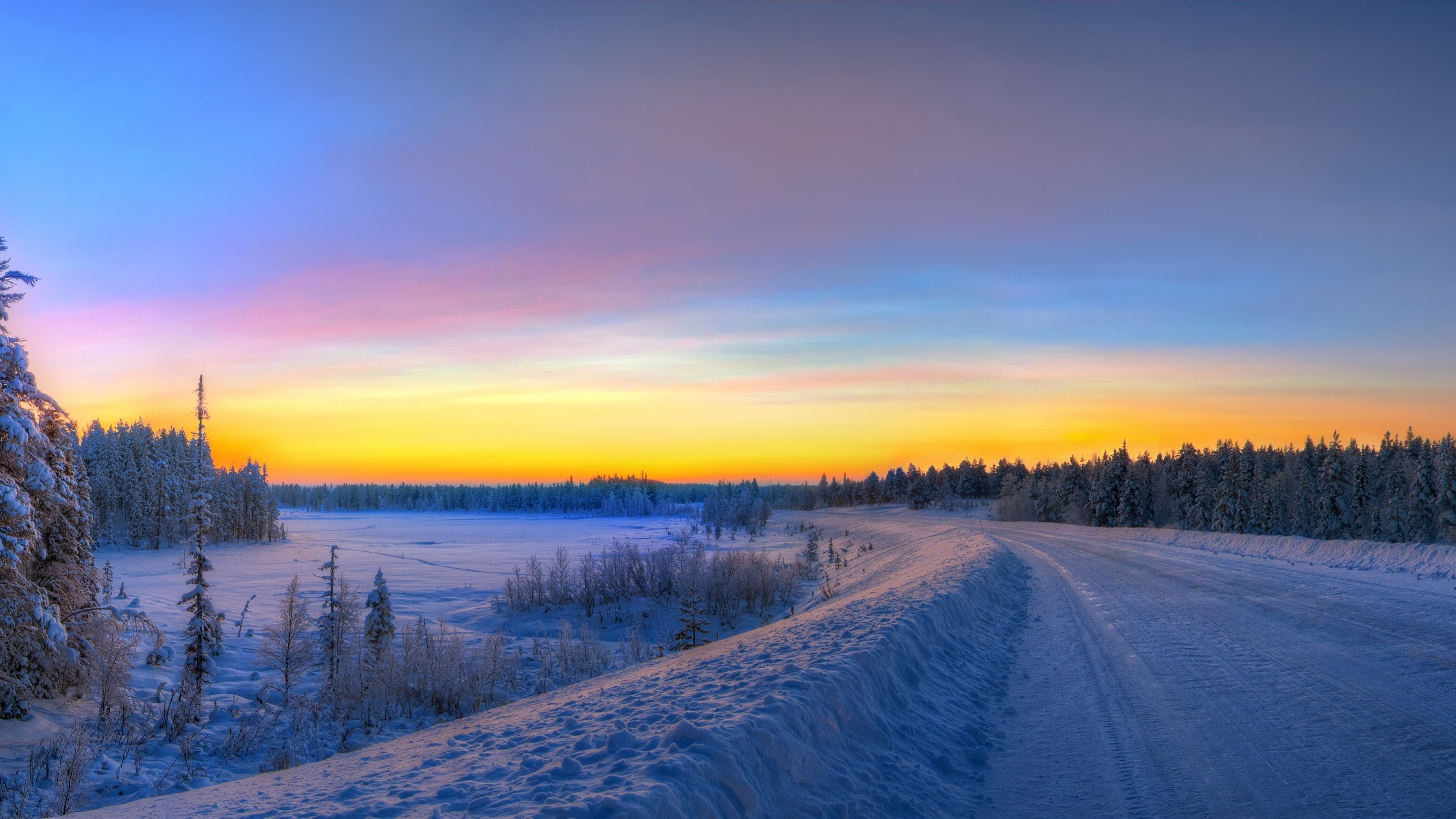 Preview wallpaper panorama, sunset, road, winter, landscape 3840×2160