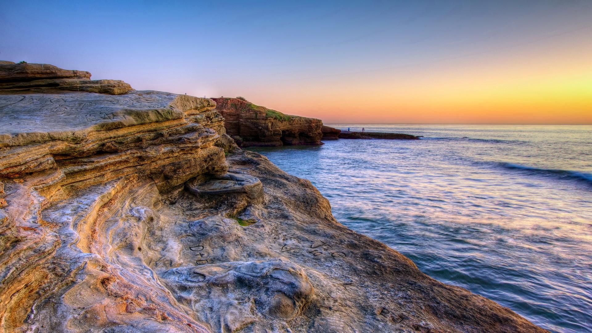 Beautiful Rocky Seashore Near San Diego Hd Desktop Background HD wallpapers
