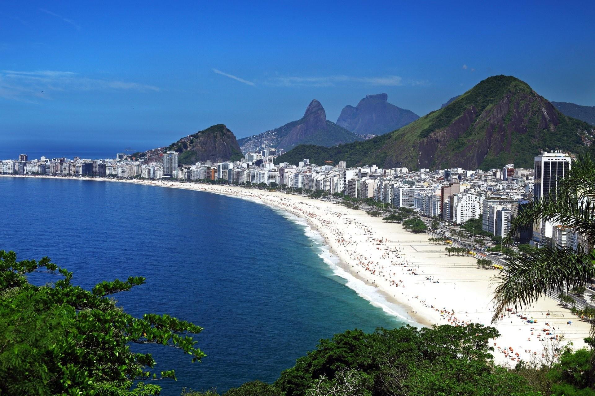 brazil rio de janeiro rio de janeiro beach sea house coast mountain sky  blue panorama top