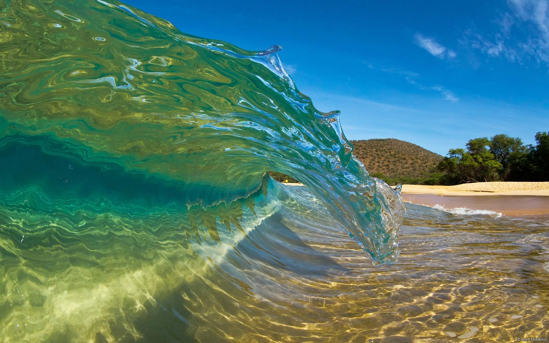 Hawaii Beach Wallpaper: Hawaii Beach Waves Desktop Background Hd Wallpaper  City Forkyu 1920x1200px