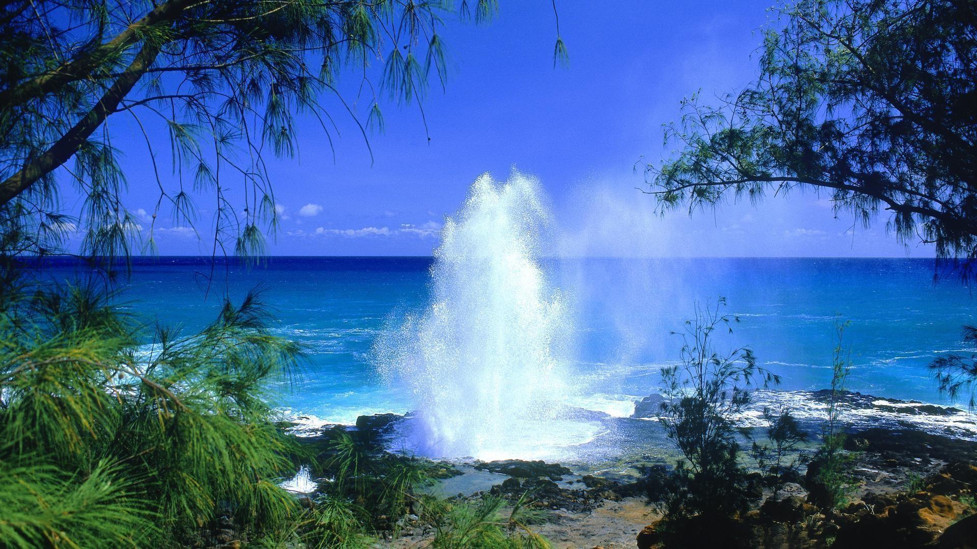 Hawaiian Beach Wallpaper: Hawaii Beach Water Gush Wallpaper Duhdek .