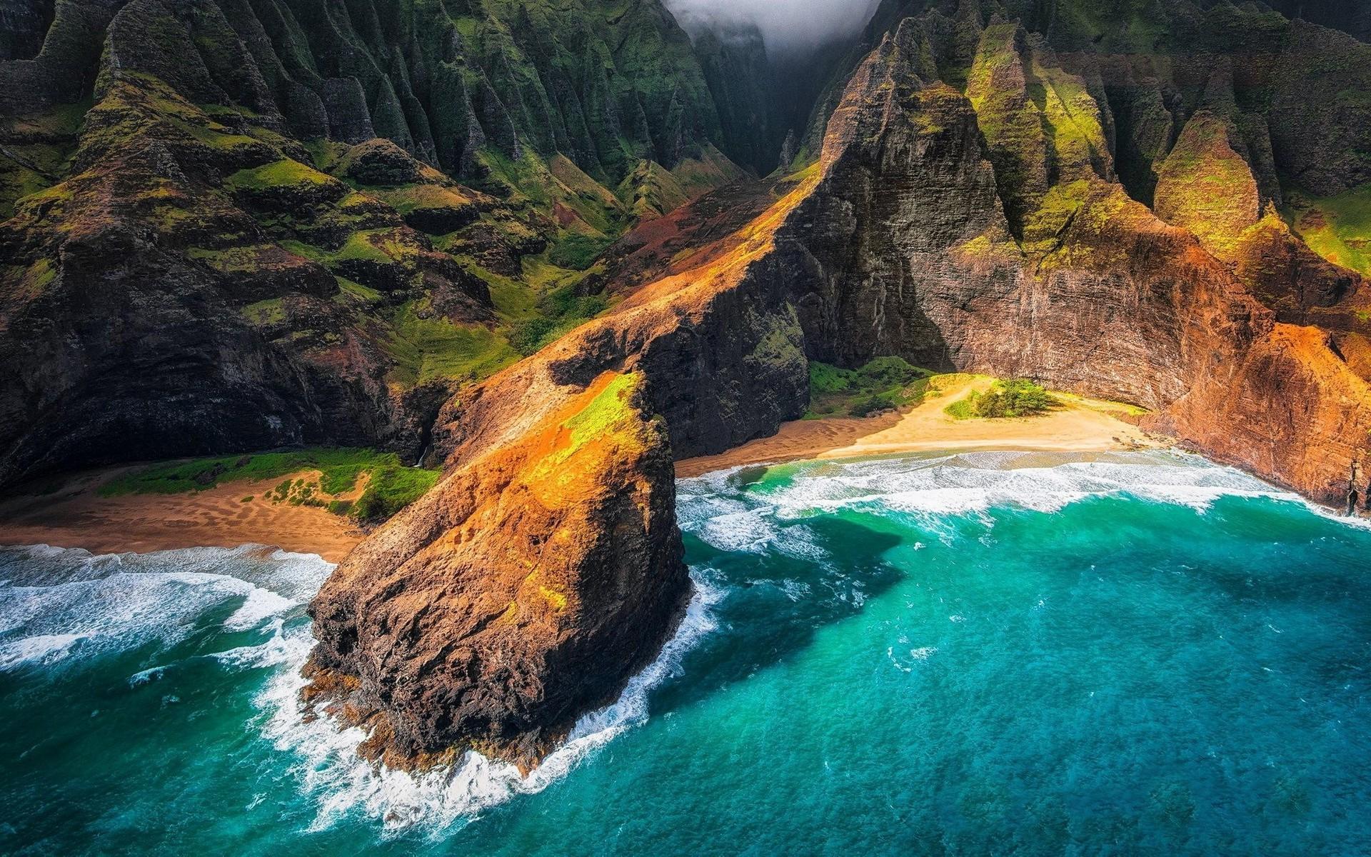 landscape, Nature, Kauai, Hawaii, Beach, Cliff, Sea, Mountain, Coast,  Aerial View Wallpapers HD / Desktop and Mobile Backgrounds
