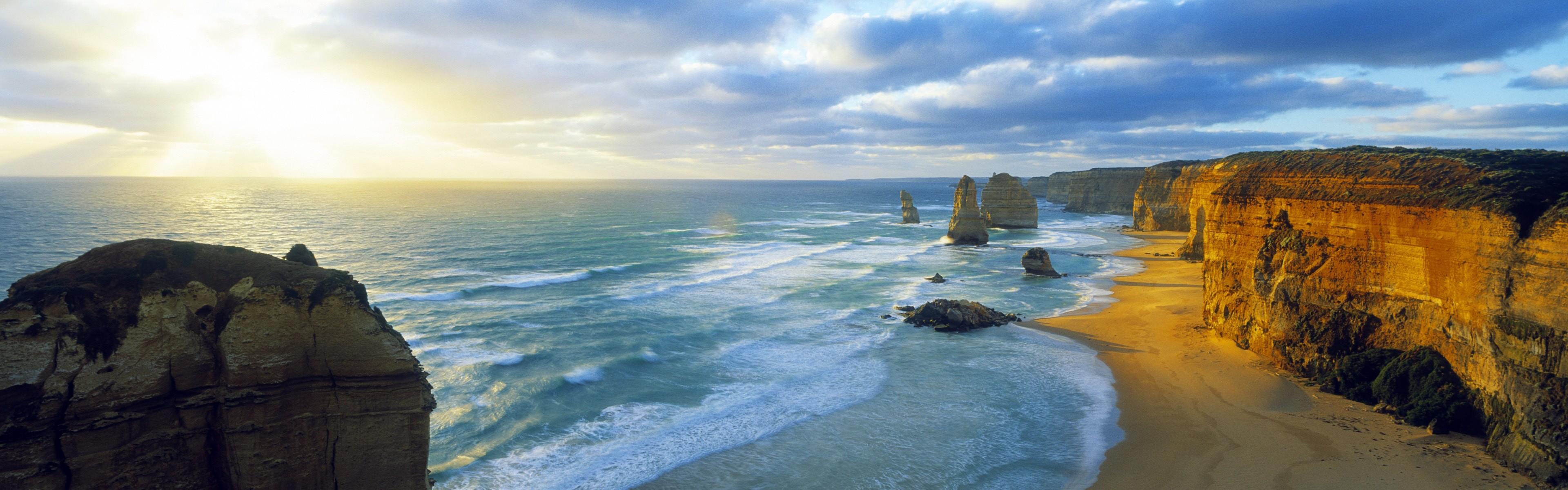 Beautiful beach sunset, Windows 8 panoramic widescreen wallpapers #2 –  3840×1200.