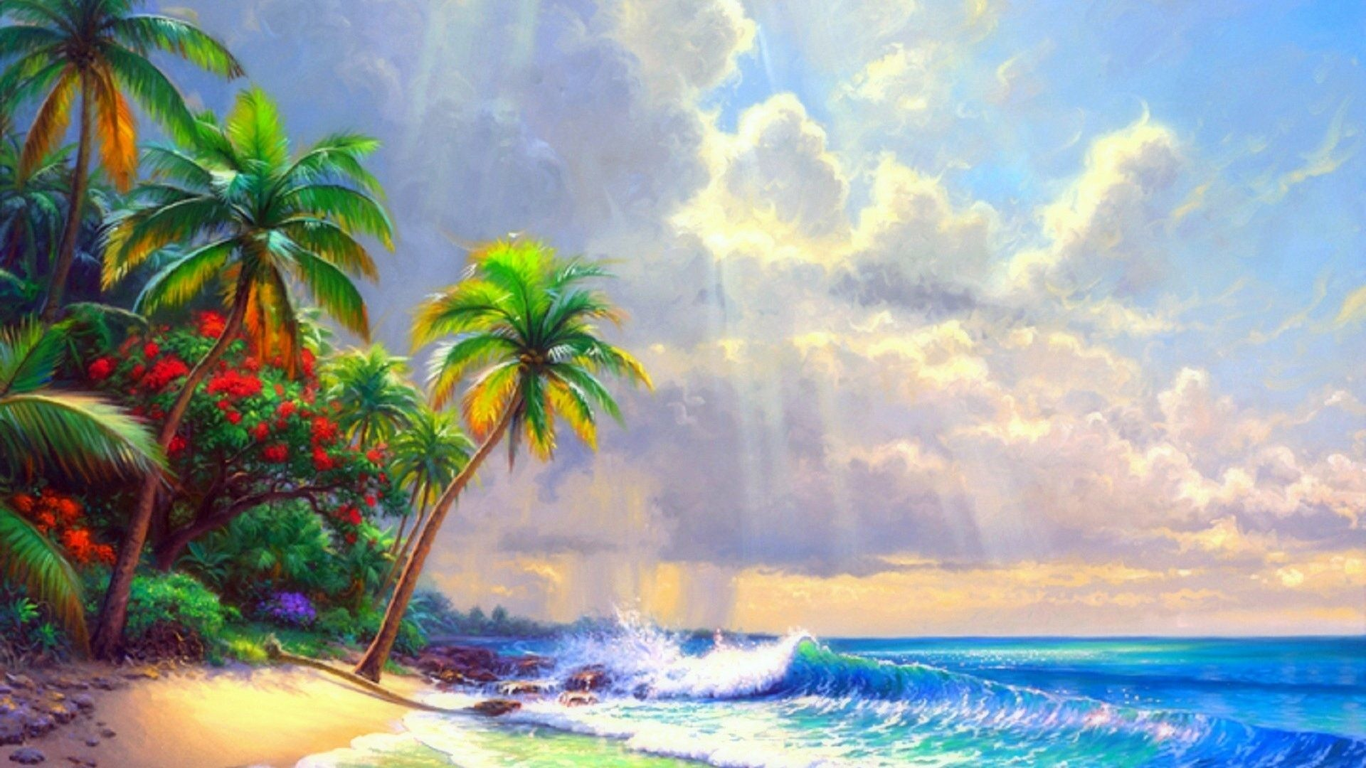 Panoramic Tag – Sea Paintings Getaways Sky Nature Clearing Bright Beaches  Relaxing Creative Tropical Scenery Clouds