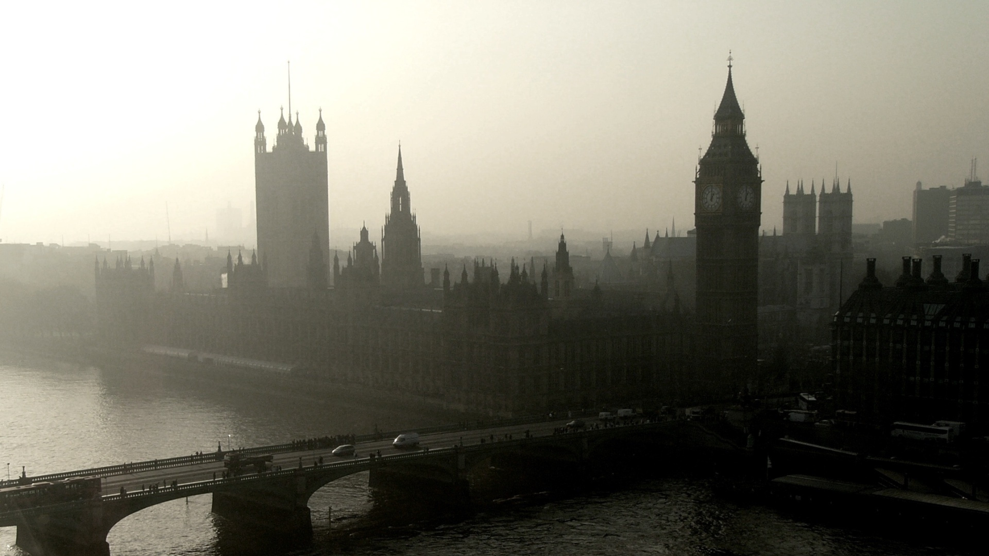 Preview wallpaper panorama, city, london, westminster palace, bridge,  river, thames