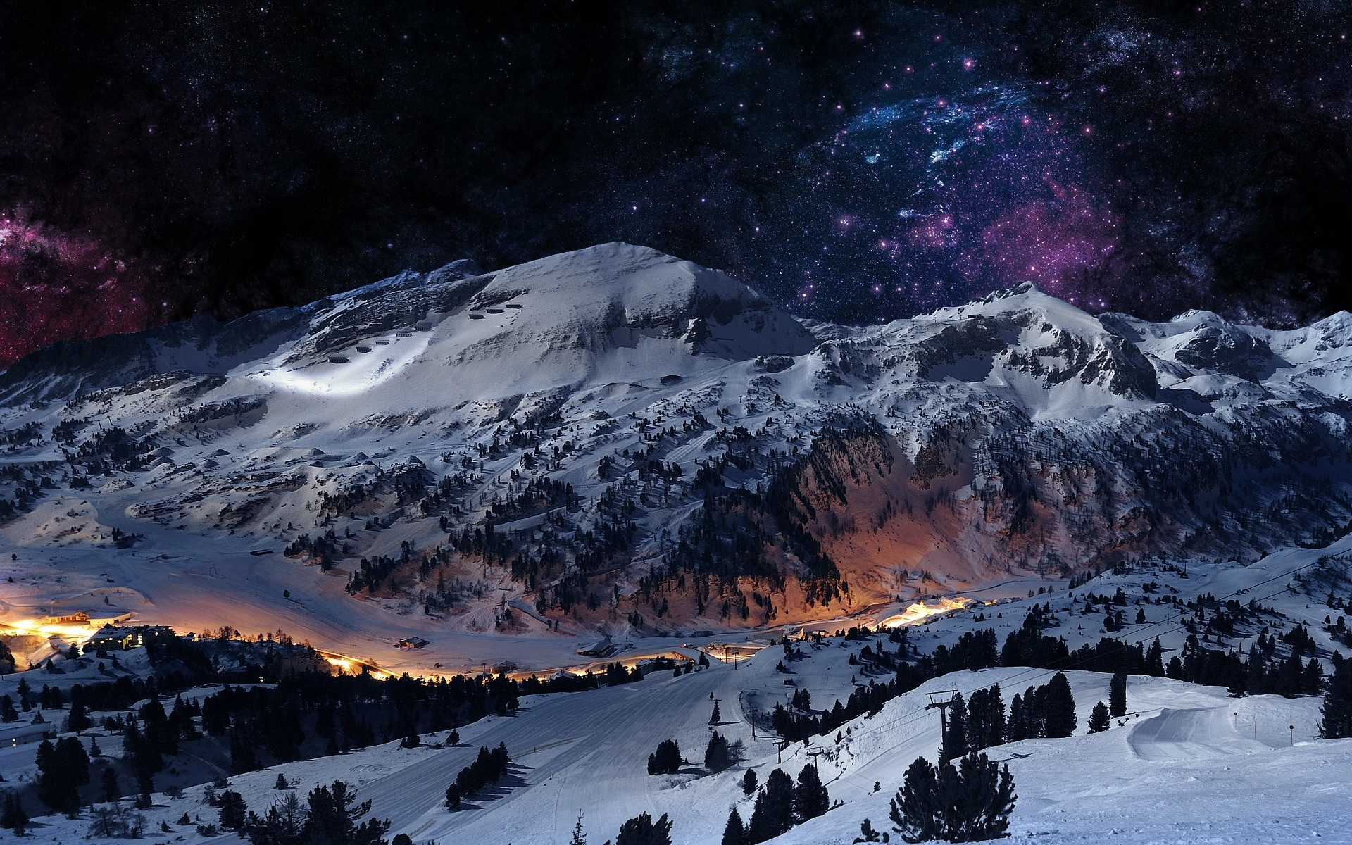 Digital Art Landscapes Mountains Night Sky Scene Winter Hd Wallpaper 944634  – Wallb.com