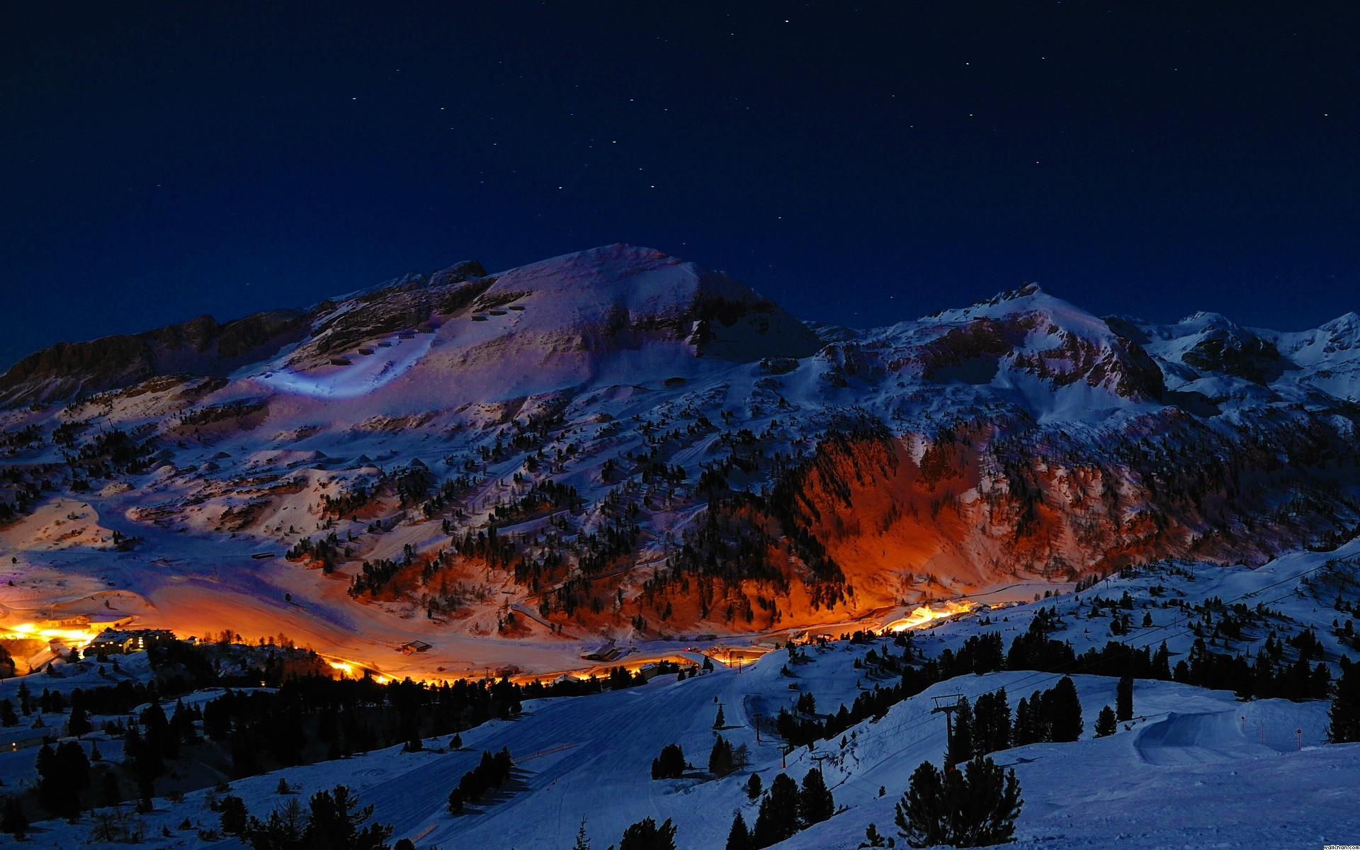 Night Mountain Wallpaper High Resolution For Desktop Wallpaper 1920 x 1200  px 692.31 KB night snow