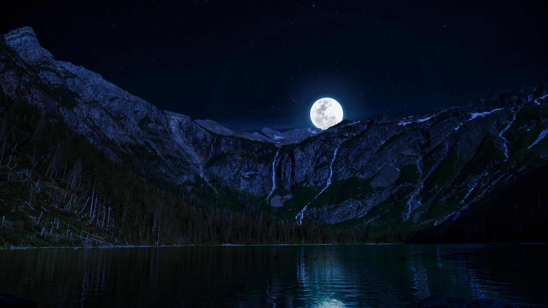Lake Night Moon Mountains Wallpapers 1920×1080.