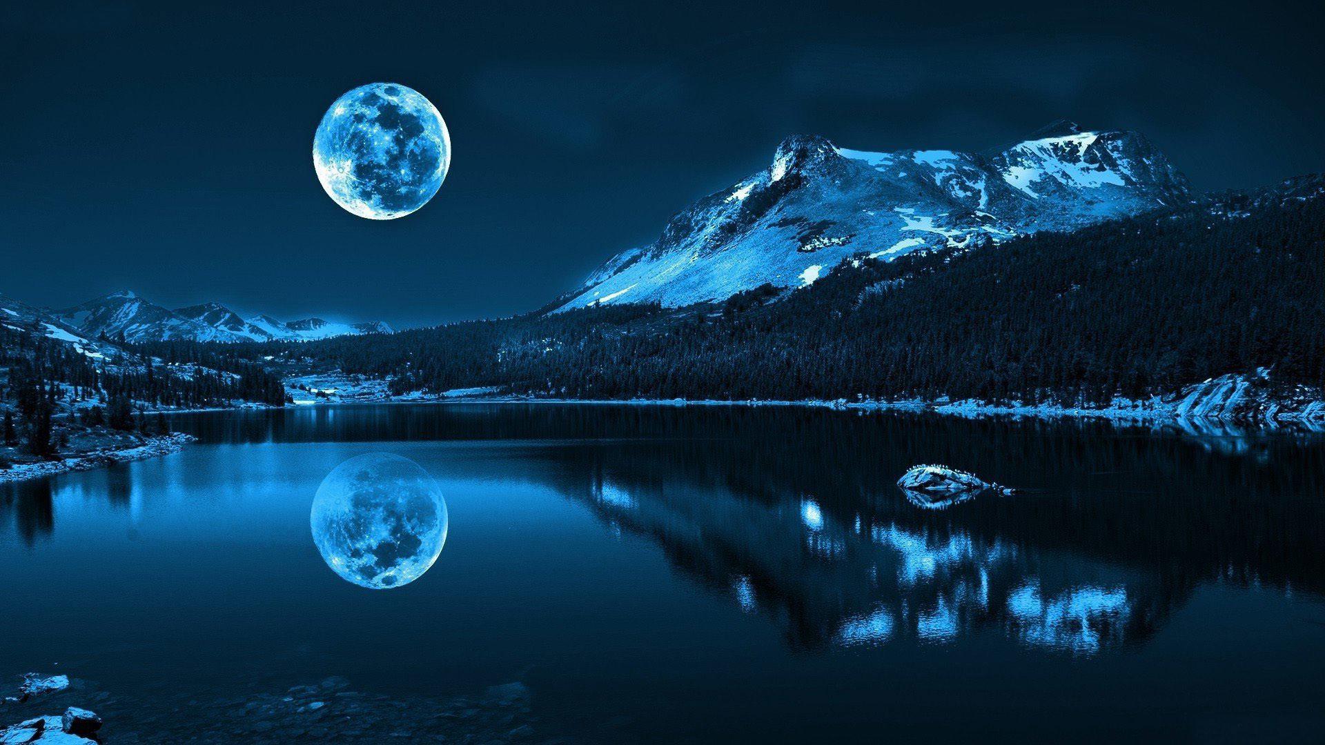 Beautiful Night Moon Mountain and Lake Shadow HD Wallpaper