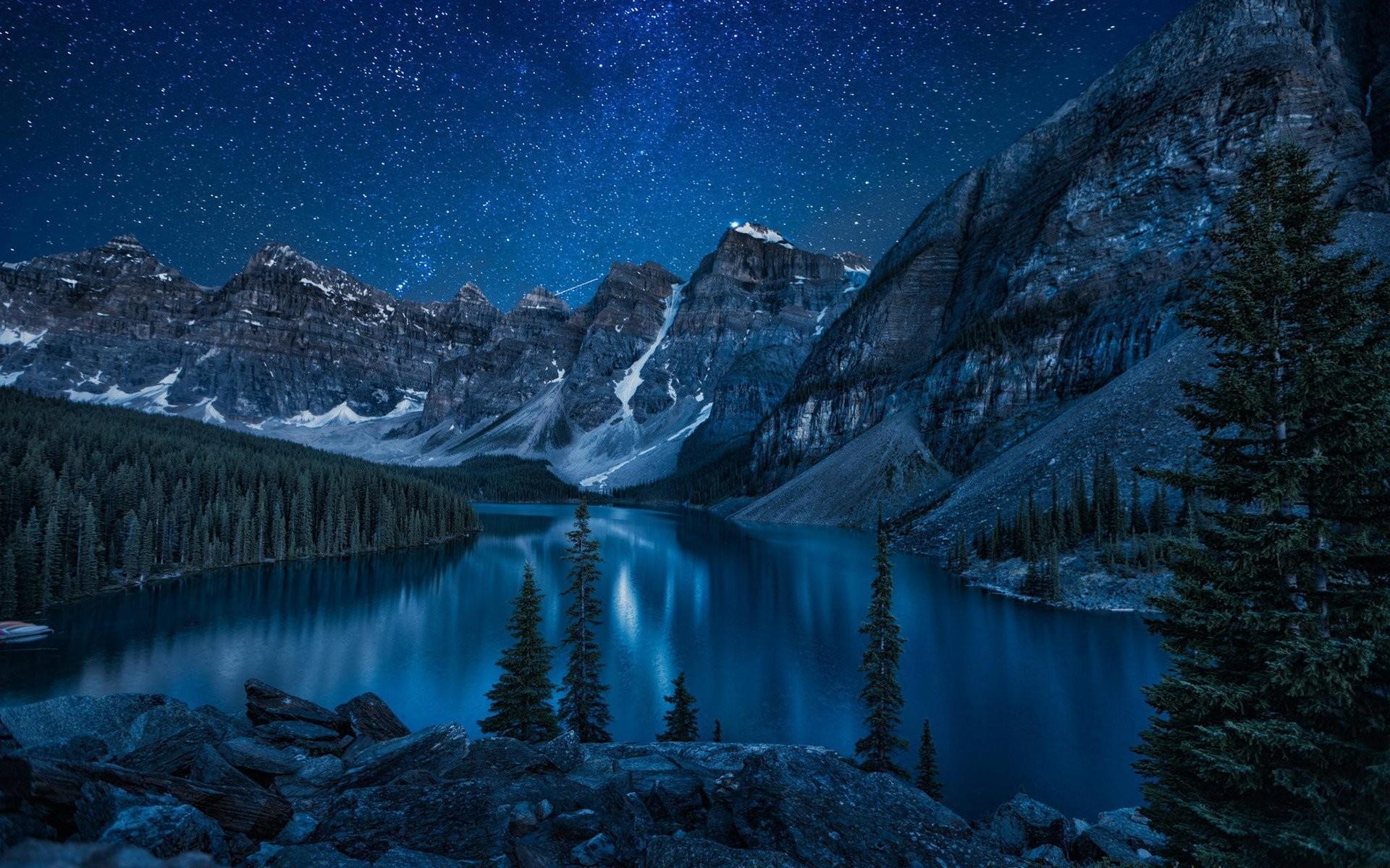 Mountains And Lake At Night