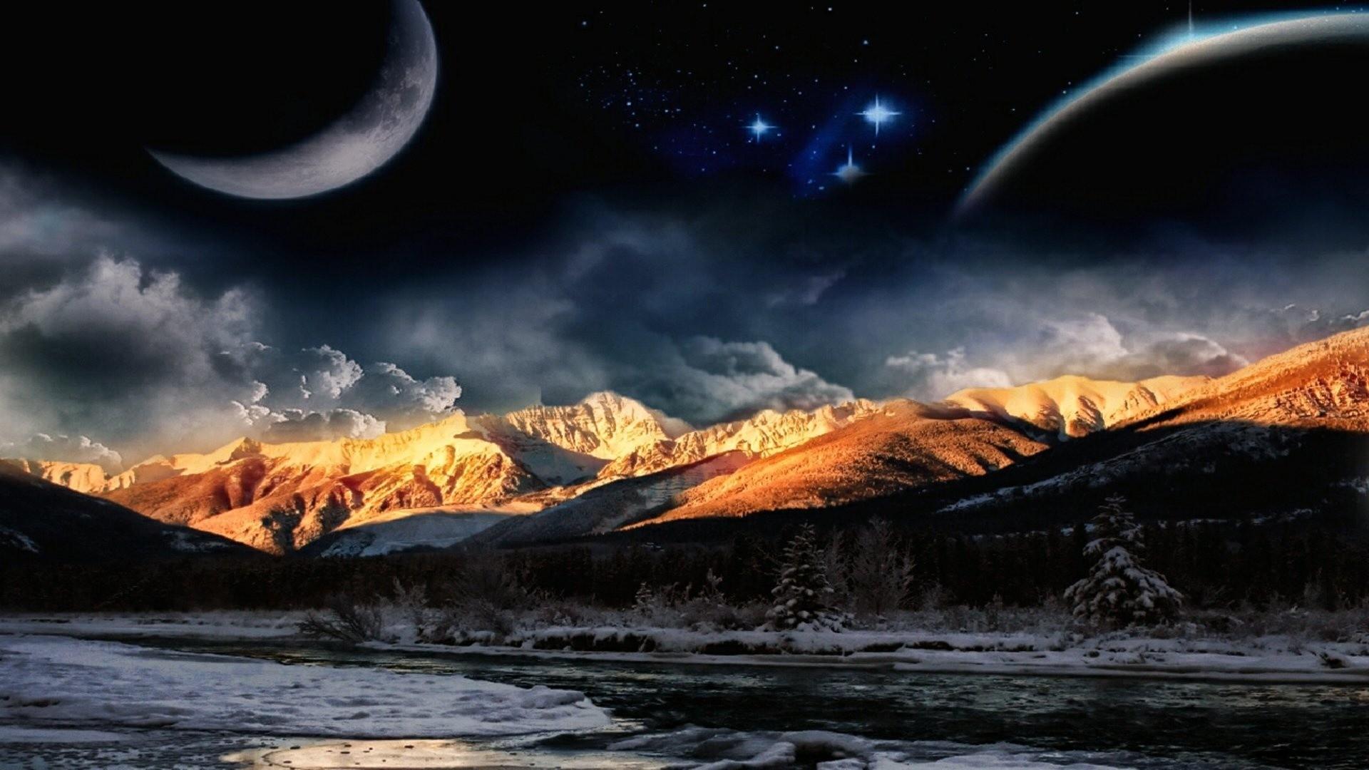 Night Mountain Wallpaper Fantasy
