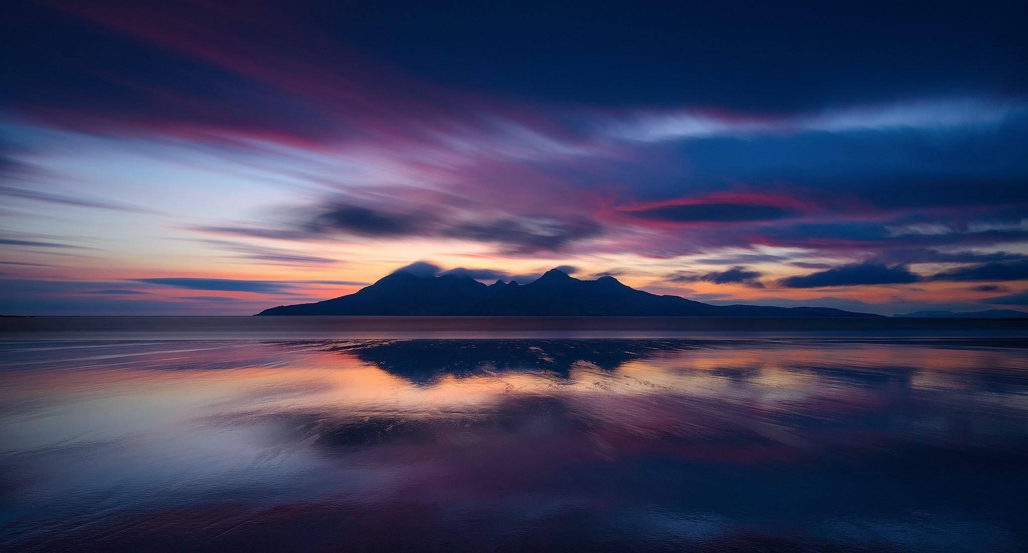 scotland island egg atlantic ocean beach night mountain clouds
