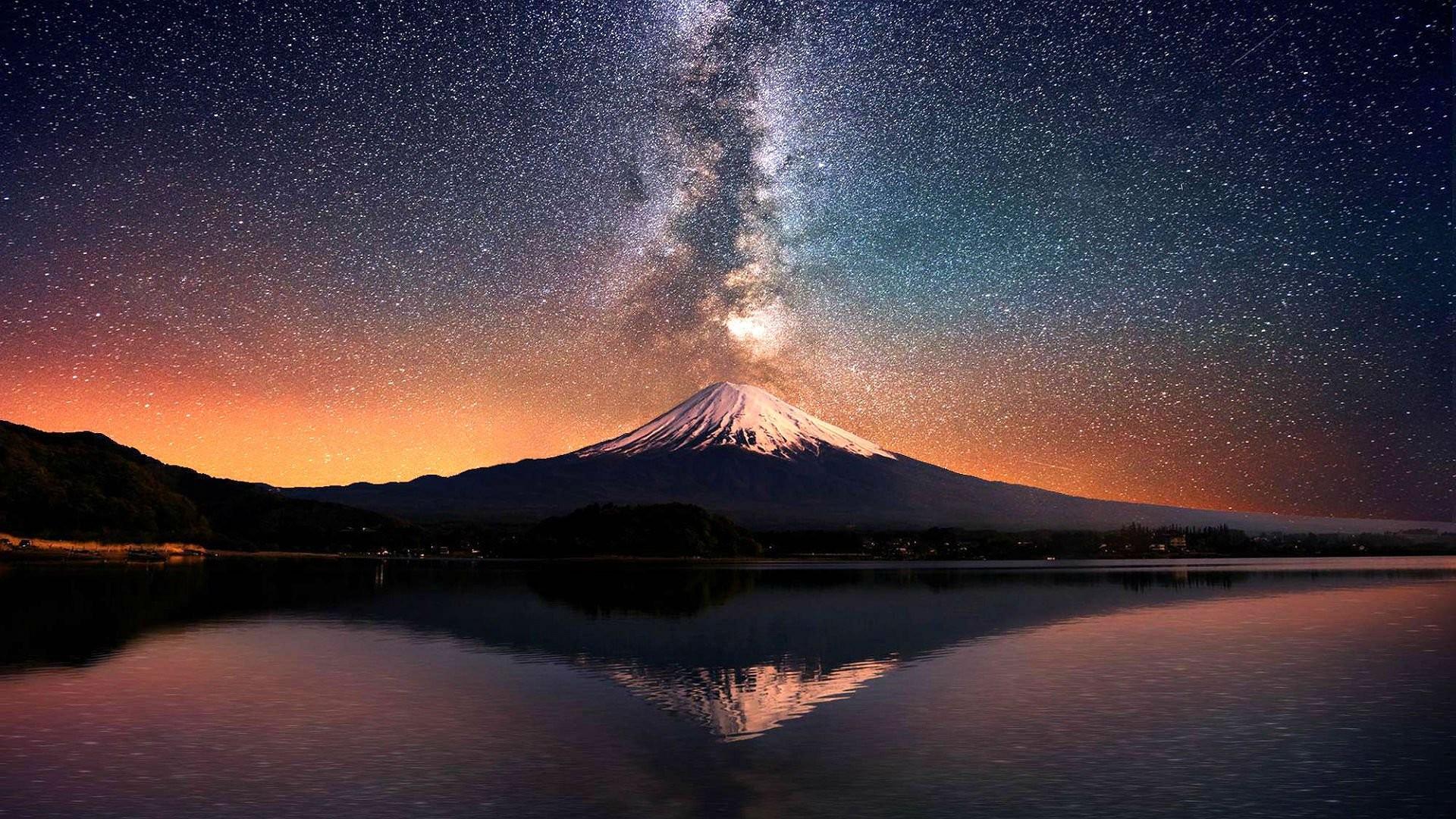 Volcano mountain lake sky stars reflection lava nature landscape mountains  fire wallpaper     652680   WallpaperUP
