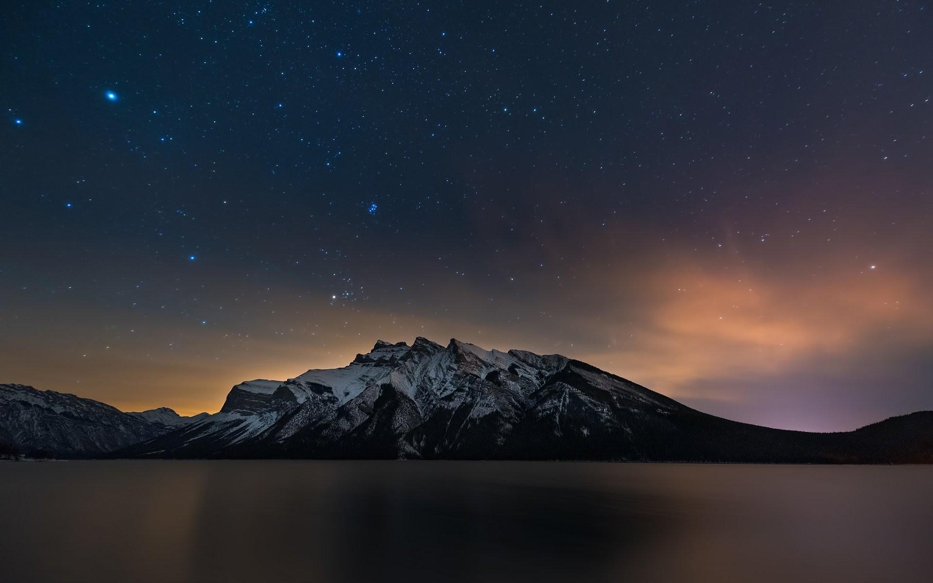 banff alberta canada lake mountain night stars