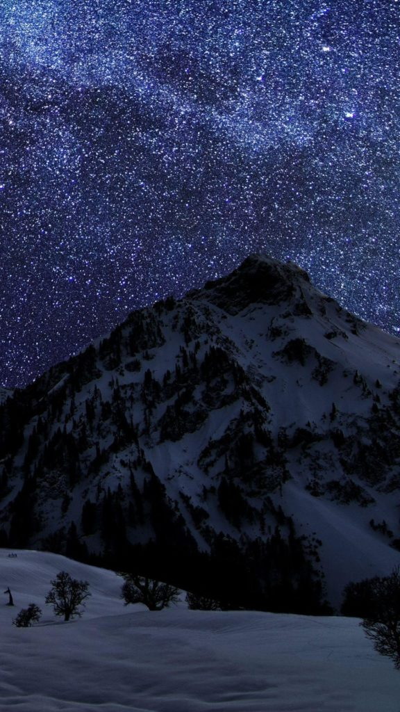 Snow Mountain Night Sky Stars Android Wallpaper …