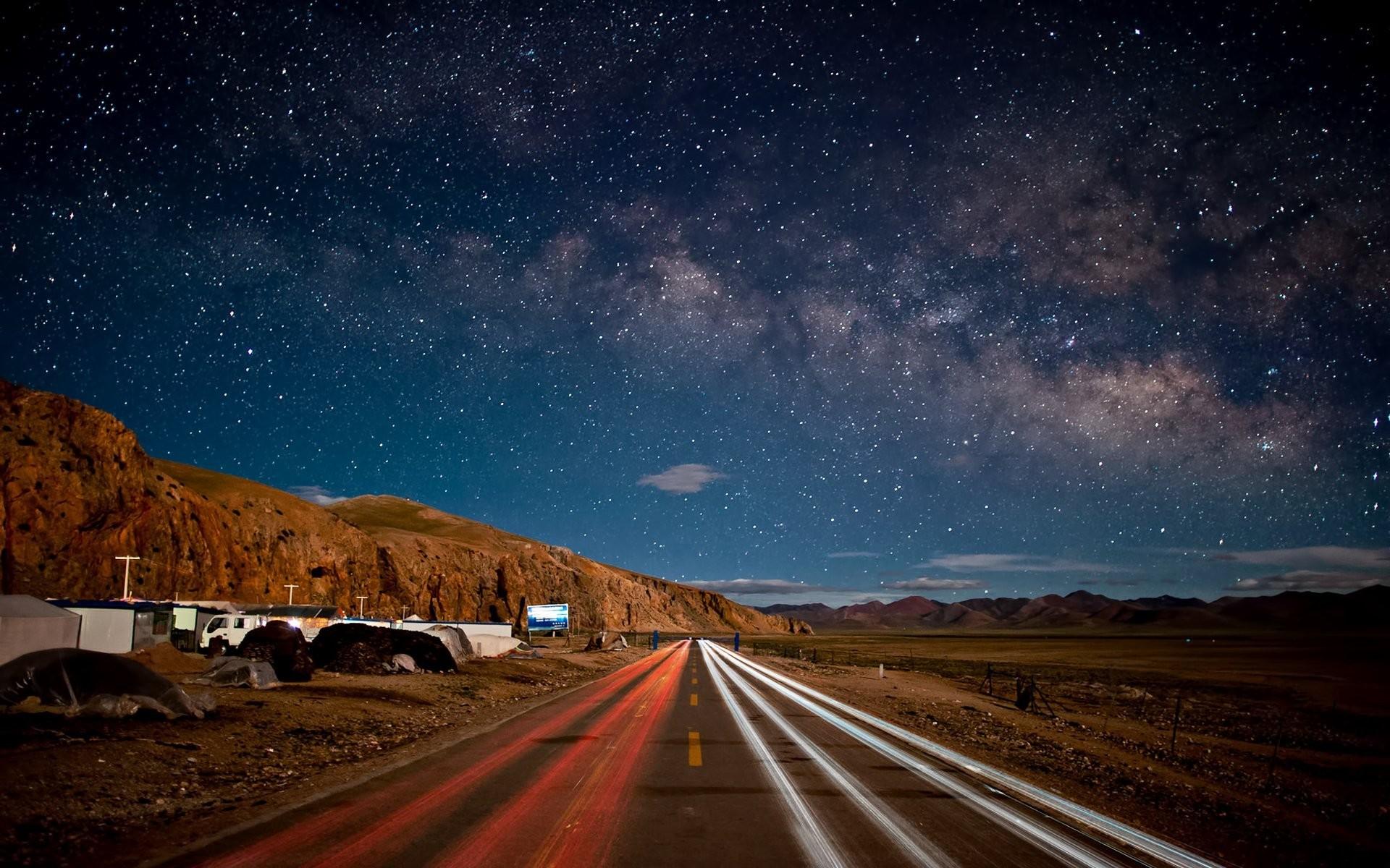 night sky star mountain road china china