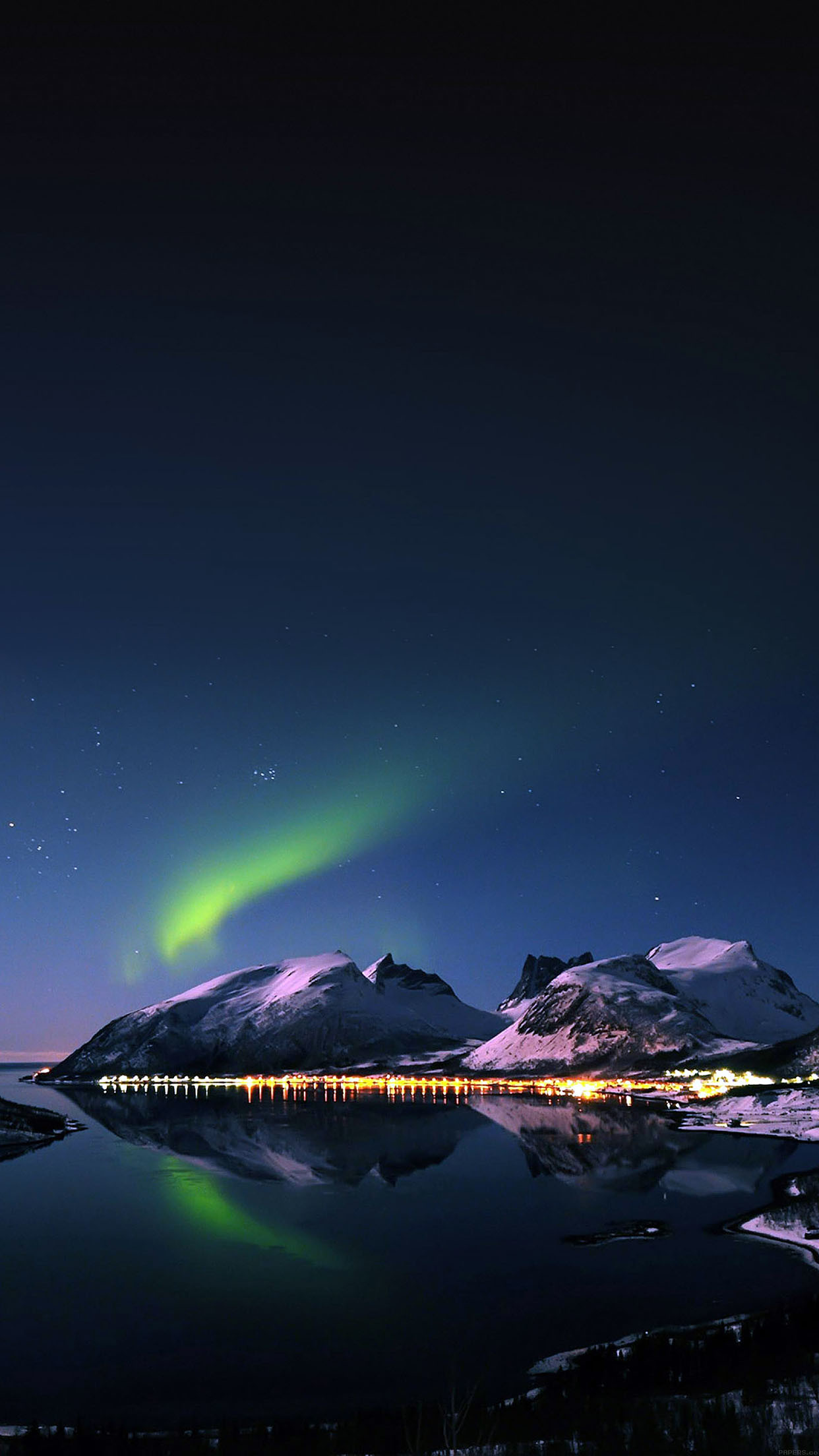 Aurora Night Snow Mountains Dock Lights android wallpaper HD