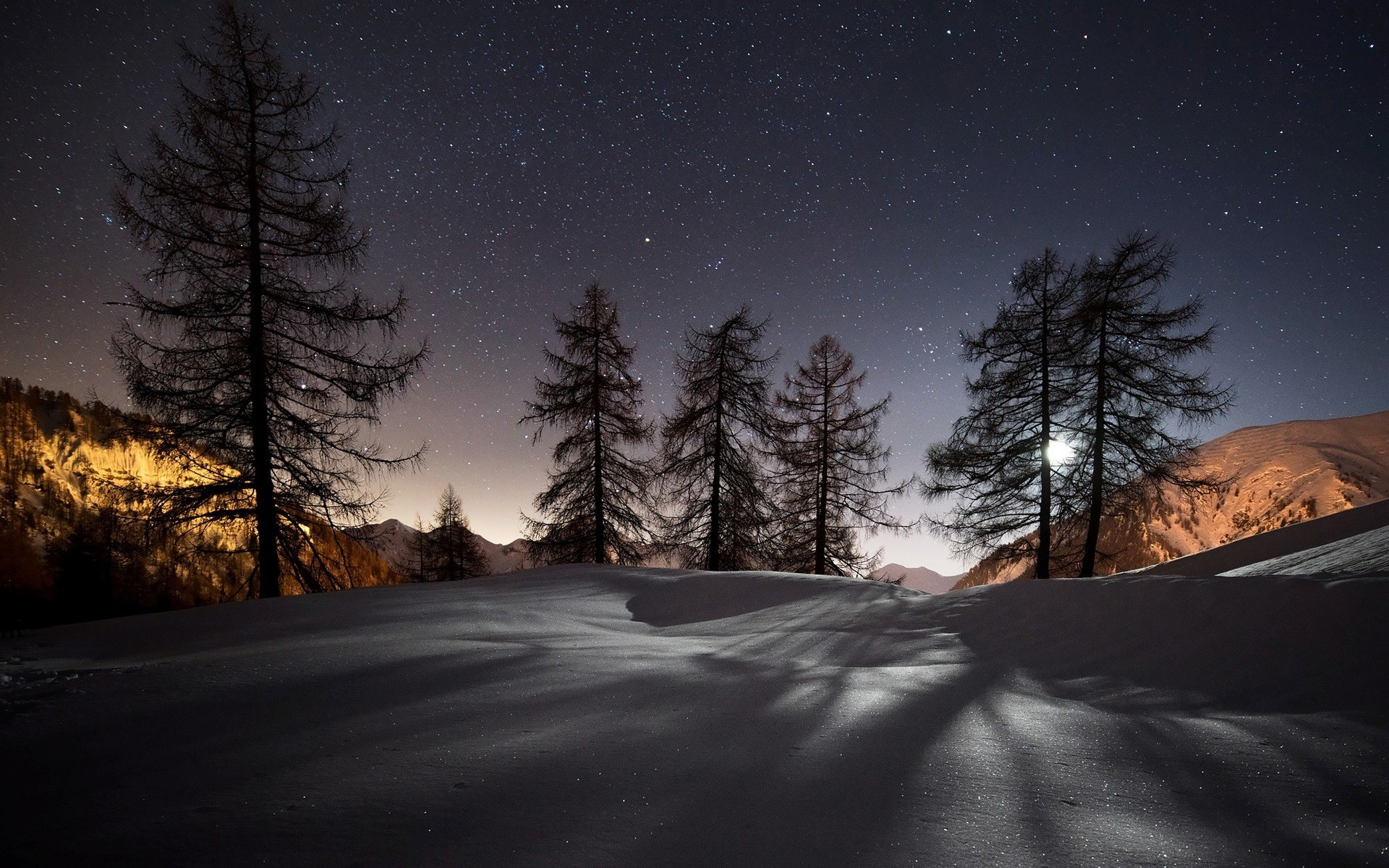 Night, winter, snow, mountains, trees, stars, nature landscape wallpaper  thumb