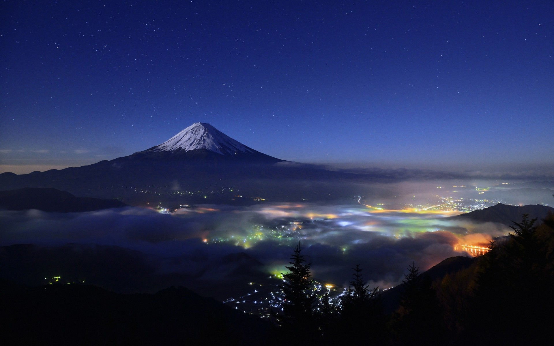 nature, Landscape, Starry Night, Mountain, Cityscape, Mist, Snowy Peak,  Lights, Trees, Mount Fuji, Japan Wallpapers HD / Desktop and Mobile  Backgrounds