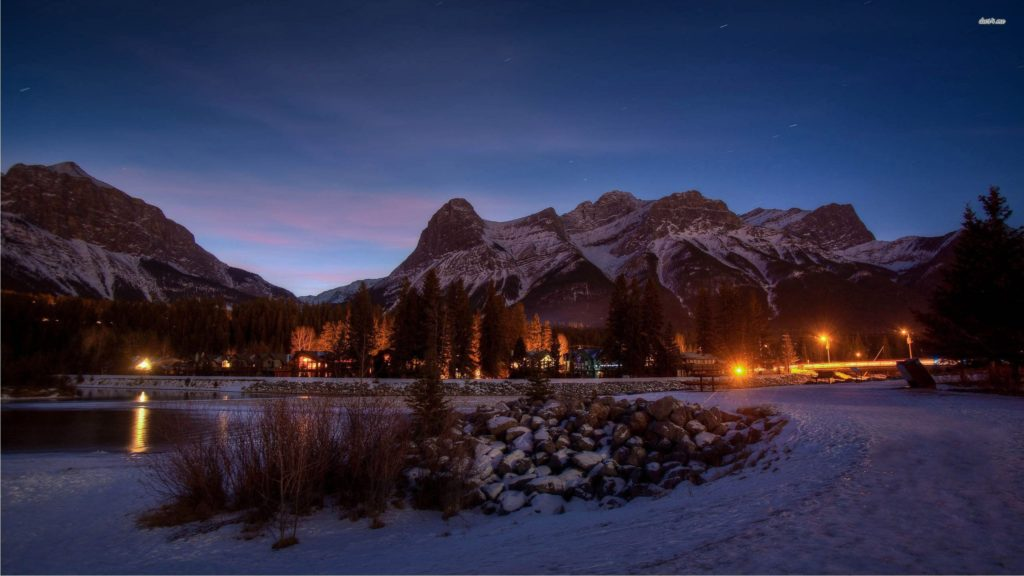 Rocky Mountains At Night