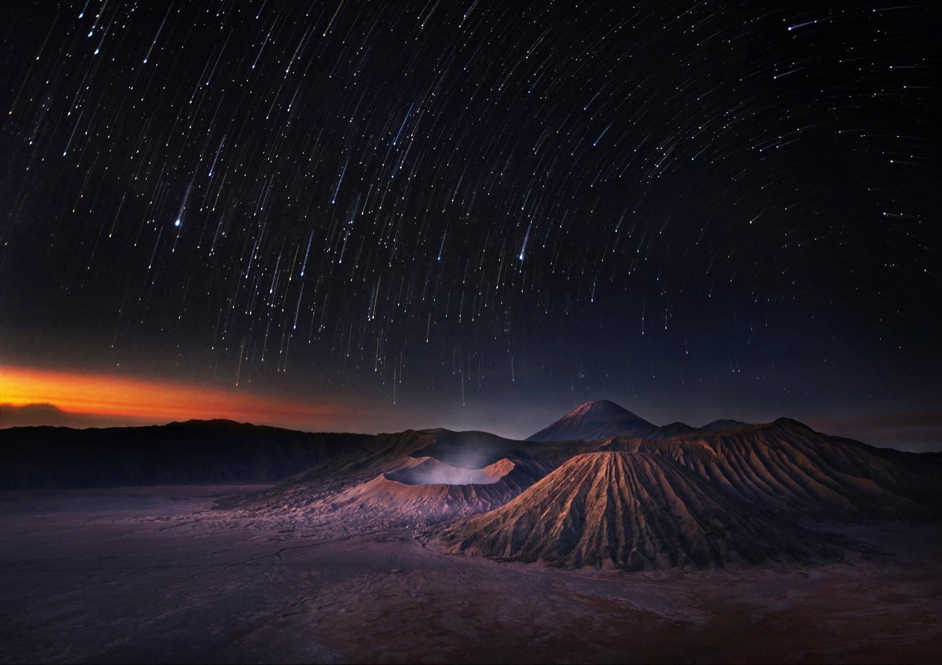 stars shooting stars universe night mountains sky space star shooting stars night  mountain sky space universe