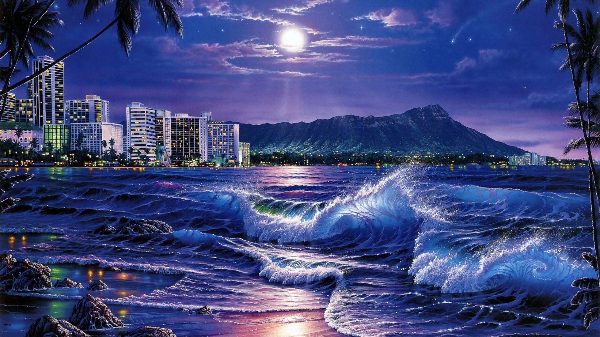 Wallpaper sea, waves, city, night, beach, moon, stars,
