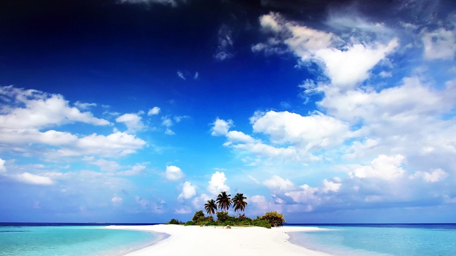 Wallpaper beach, palm trees, sand, island, land, water, gulf
