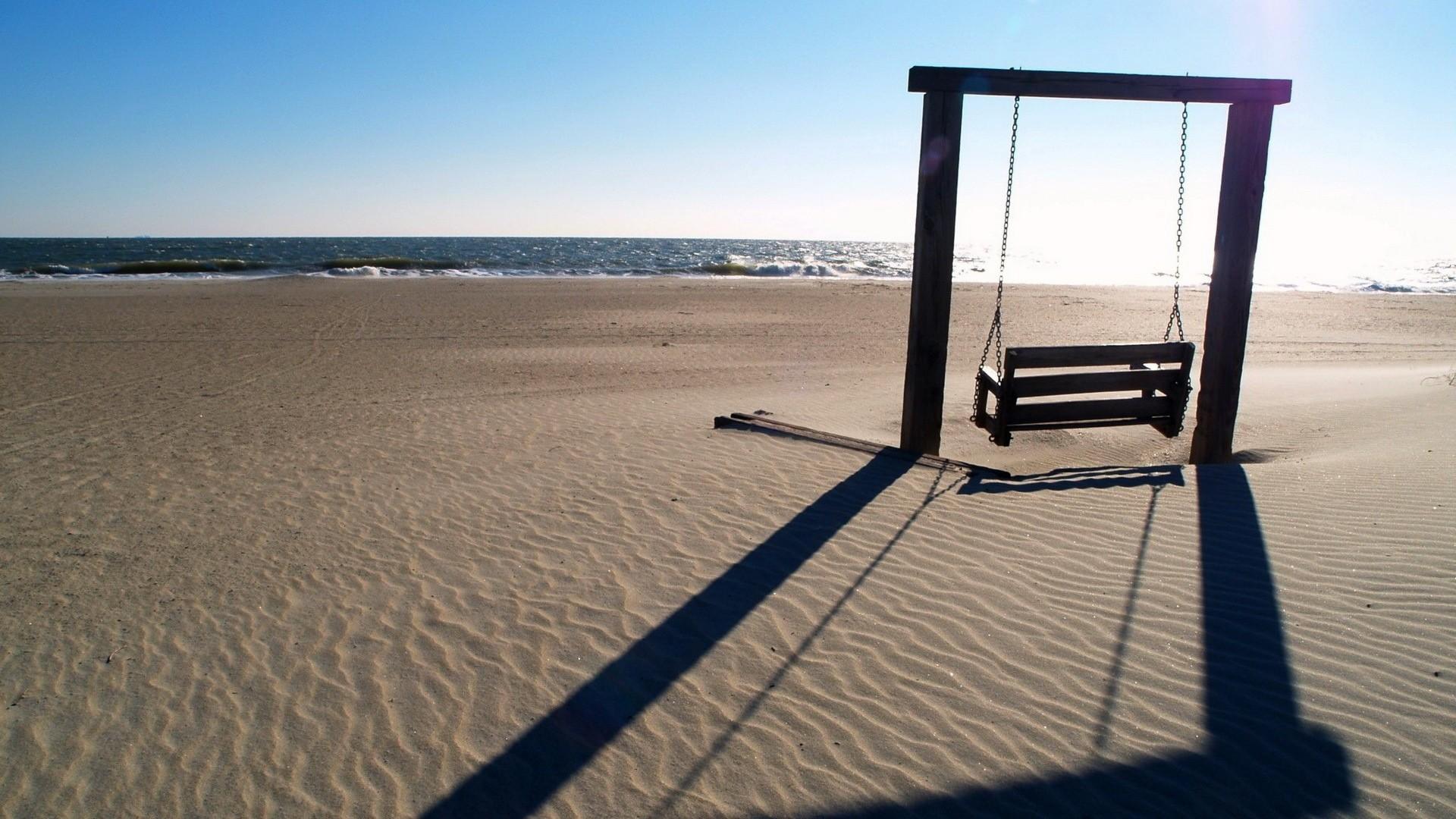 Wallpaper swings, sea, beach, landscape, mood