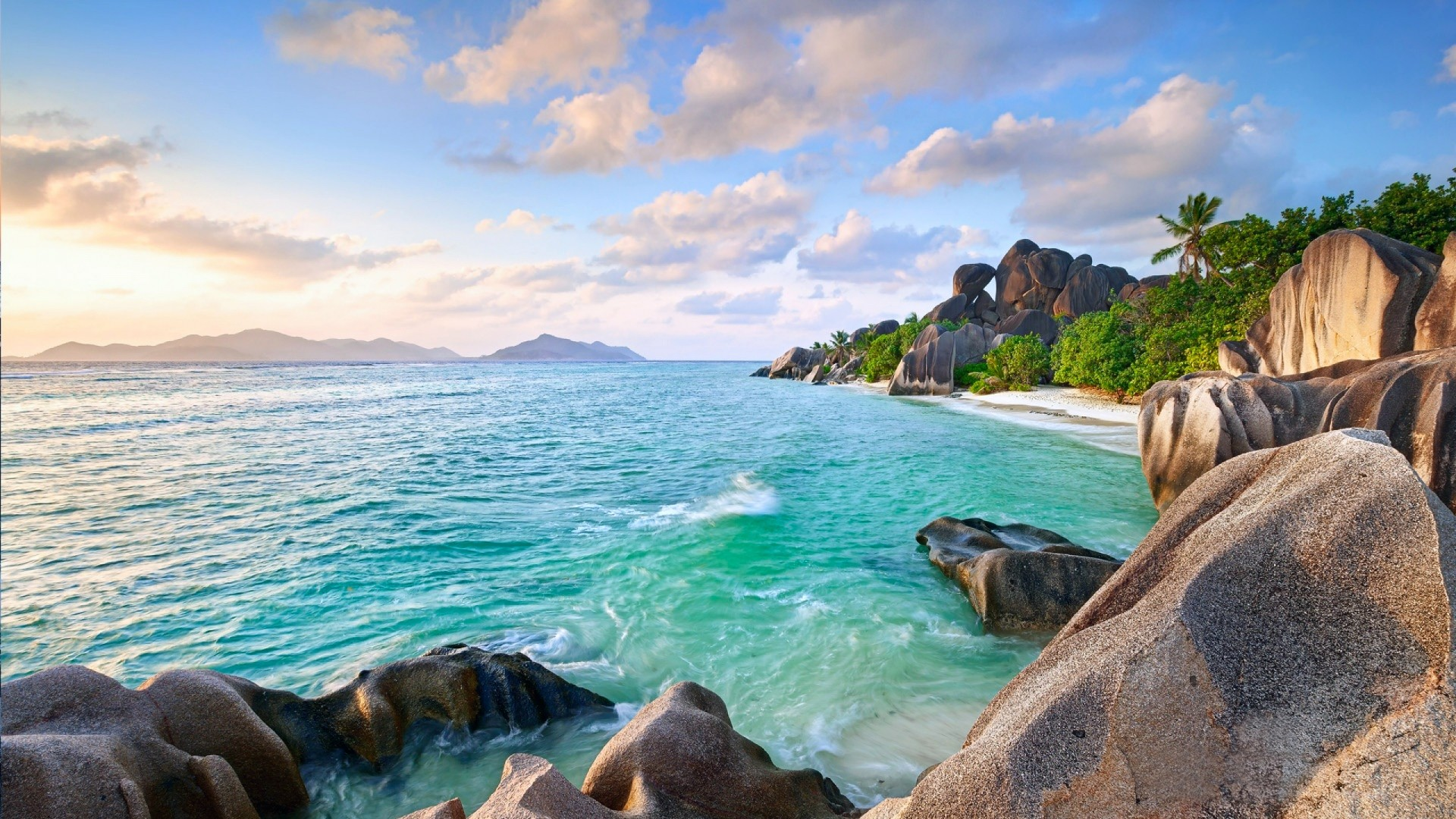 Island Summer Sky Sand Beach Palm Trees Stones (1920×1080) Need #iPhone #6S  #Plus #Wallpaper/ #Background for #IPhone6SPlus? Follow iPhone 6S Plus …