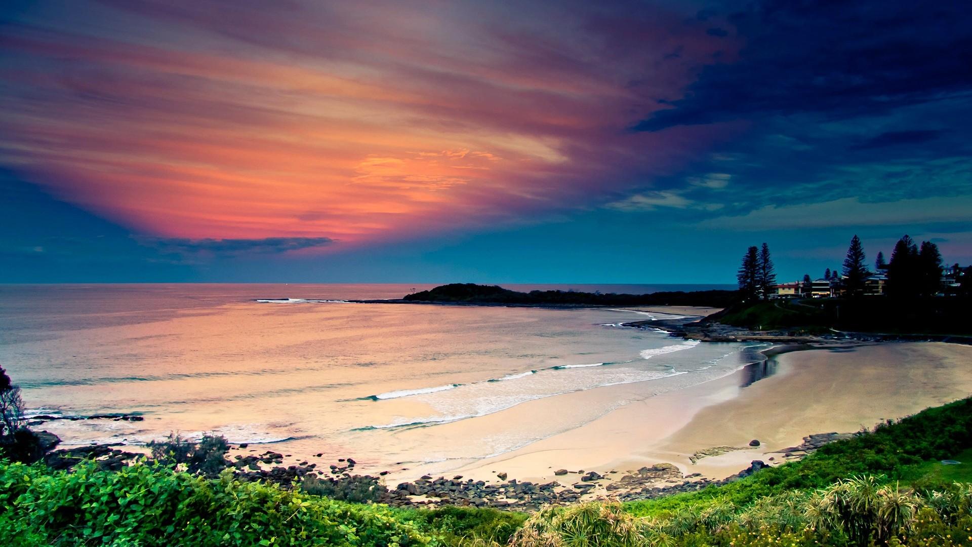 Wallpaper coast, ocean, waves, sand, beach, vegetation, sky,