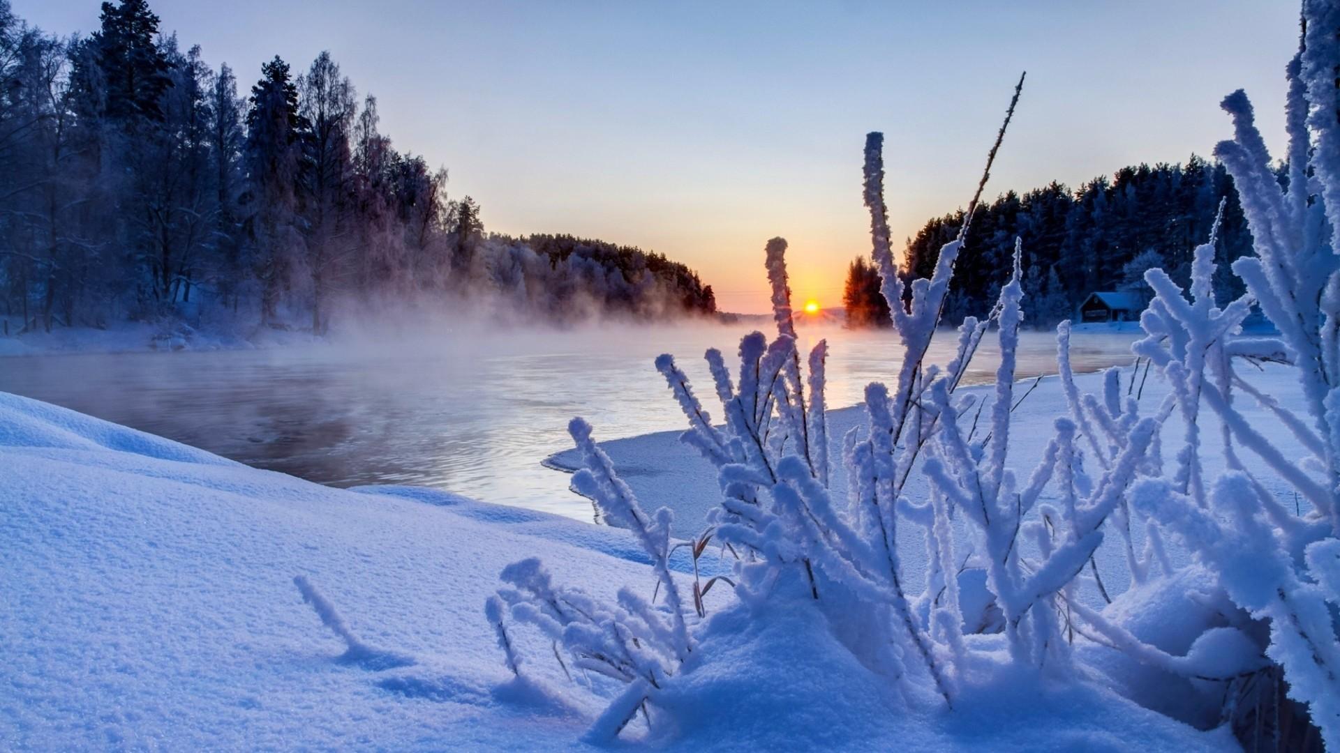 Beautiful Winter Sunset Scenery Wallpaper