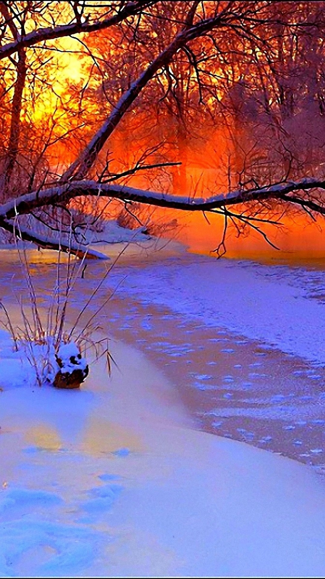 River, trees, sunset, winter wonderland, the whole package all together.