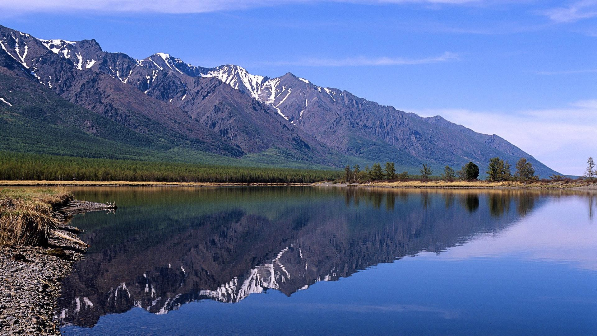 Cool Mountains and rivers reflection wallpaper wide wallpapers:1280×800,1440×900,1680×1050  –
