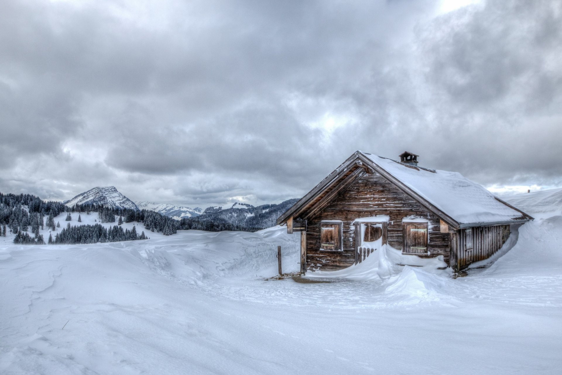 winter snow chalet cool mountain house winter snow hut cold mountains house  background wallpaper widescreen full