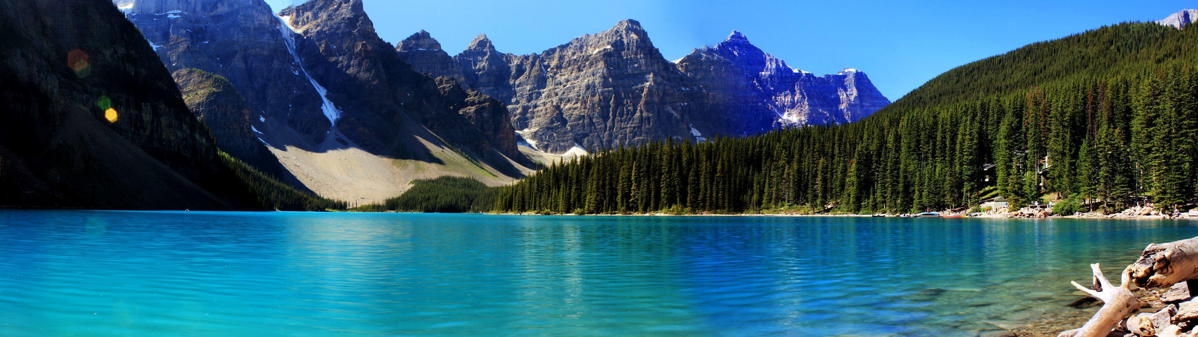 Mountain Lake Dual Screen Wallpaper