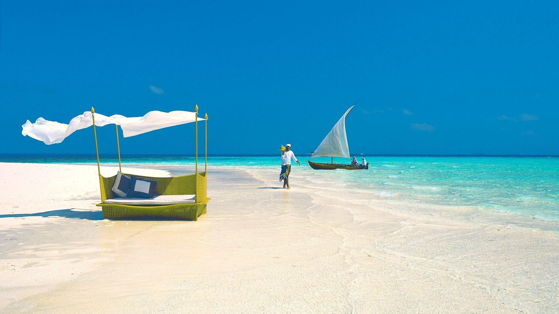 Beaches – Nature Sky Maldives Beach Ocean Blue HD Picture for HD 16:9 High
