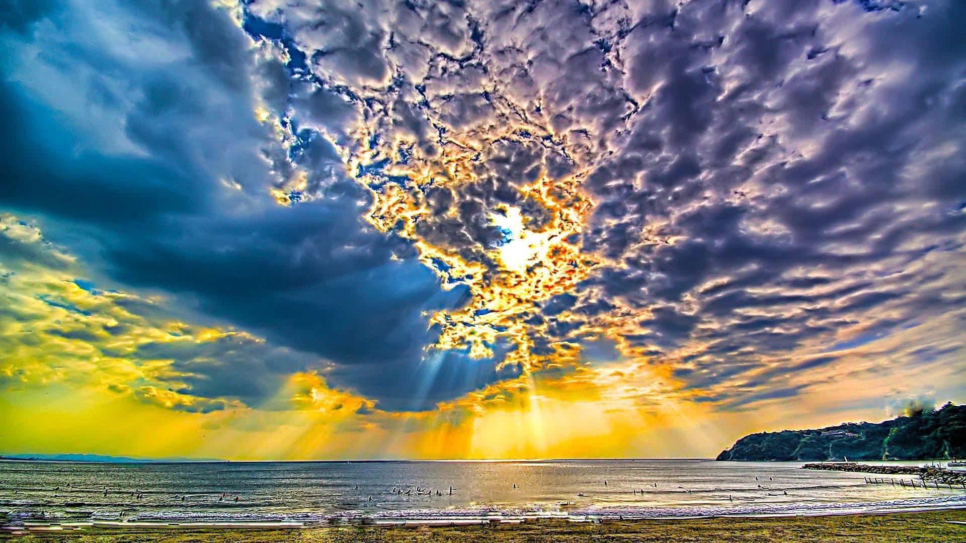 Sky Day Ray Sea Sun Holiday Sunny Beach Desktop Wallpaper Nature Detail