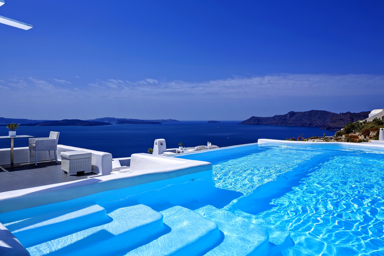 Infinity New Luxury Santorini Greece Hotel Canaves Pool Sunny Beach Desktop  Wallpaper – 3000×2000