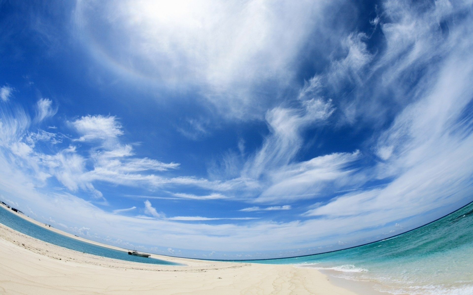 Sunny beach in circle