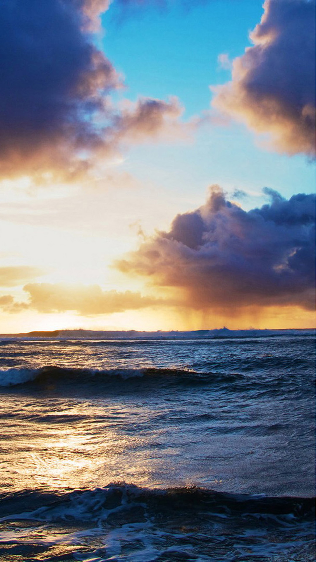 Ocean Beach Surging Wave Cloudy Sunny Skyscape #iPhone #6 #plus #wallpaper