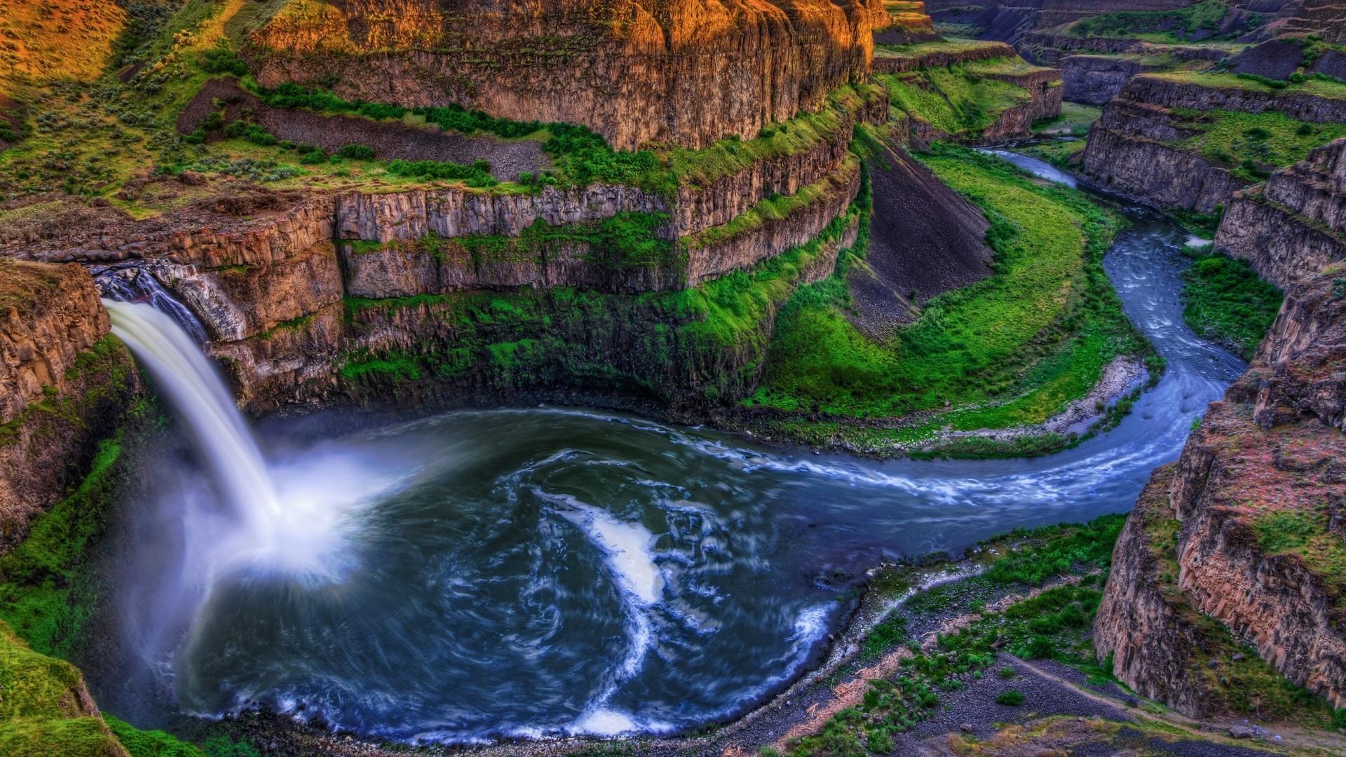 Earth – Palouse Falls River Water Waterfall Moss Rock Wallpaper