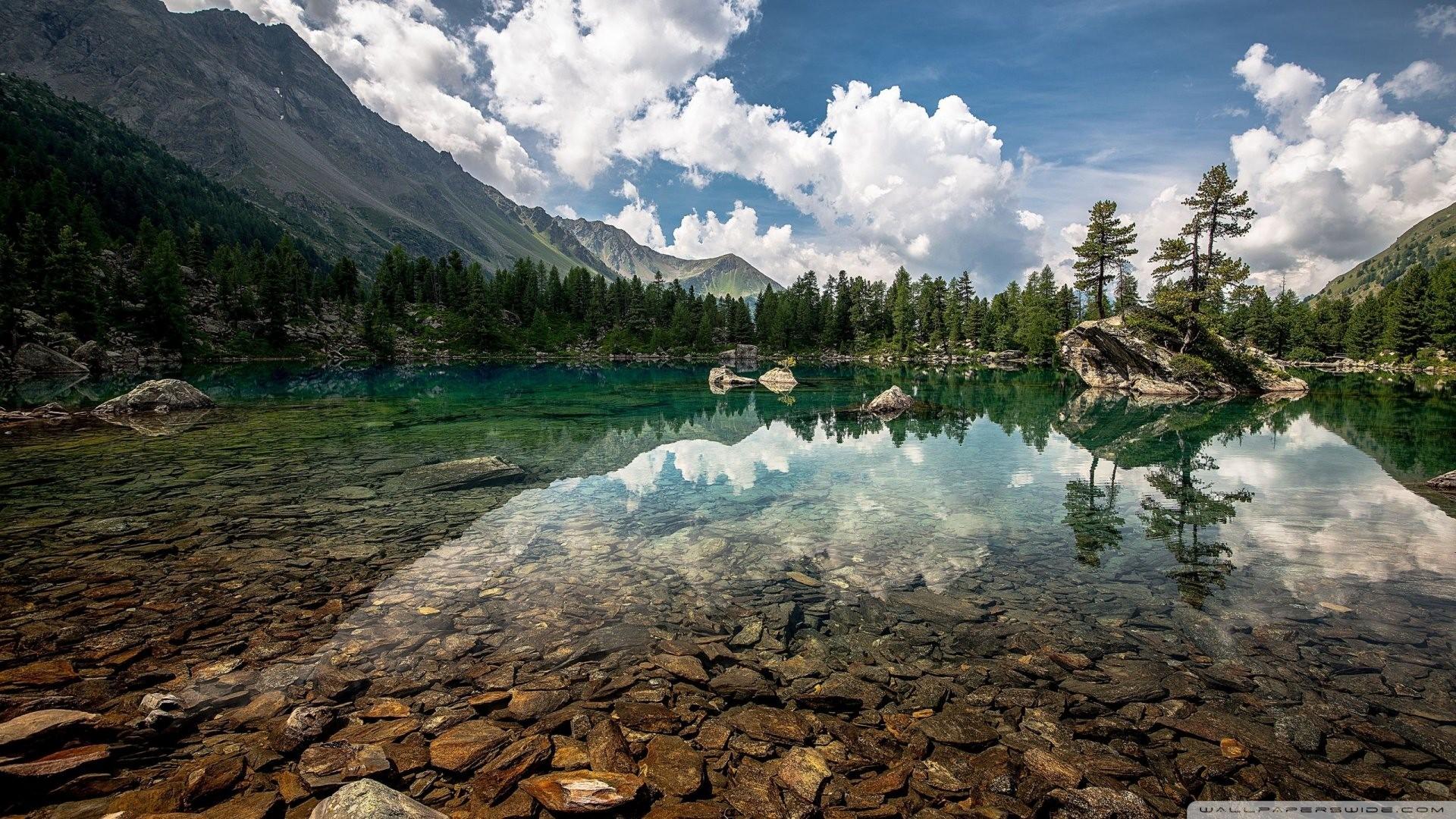 Crystal Clear Mountain Lake [1920×1080] …