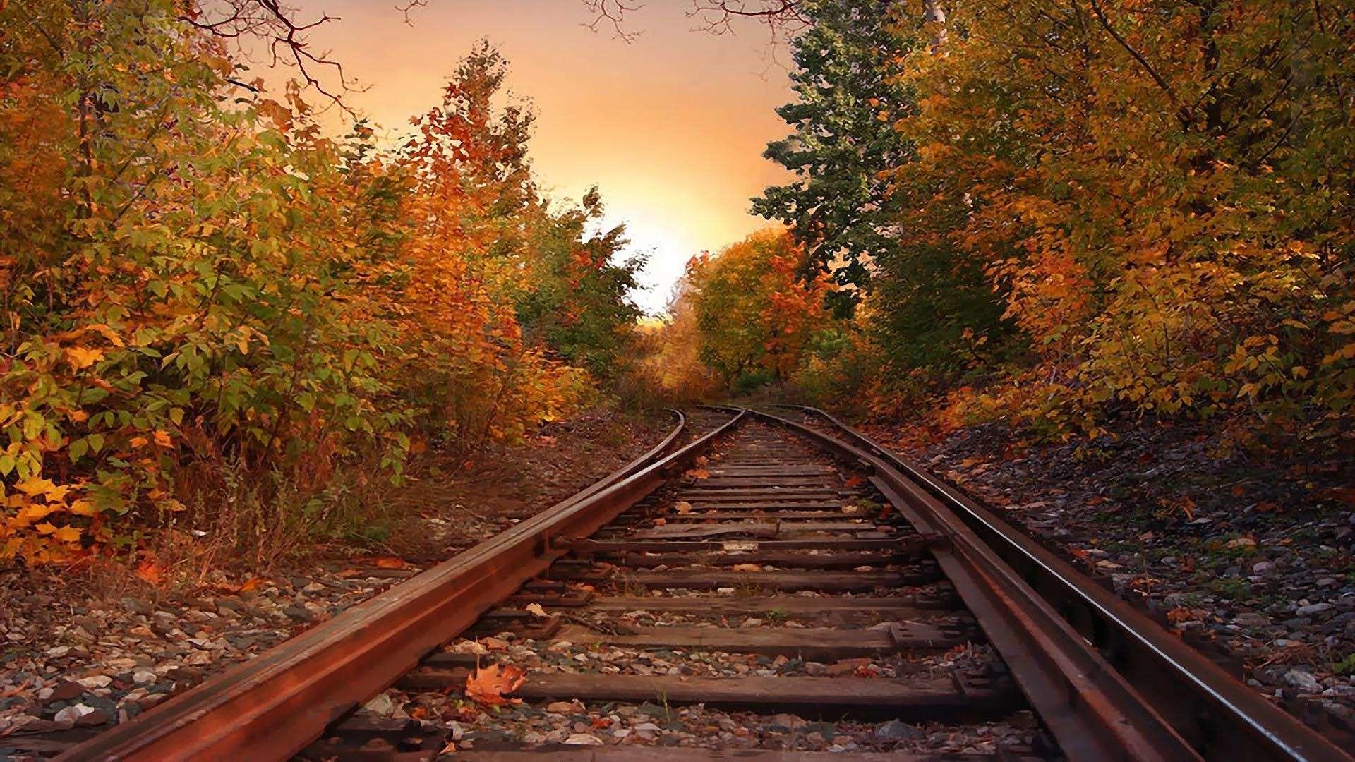 Evening Autumn Rail Hd Wallpaper Hq Backgrounds Wallpapers Autumn .