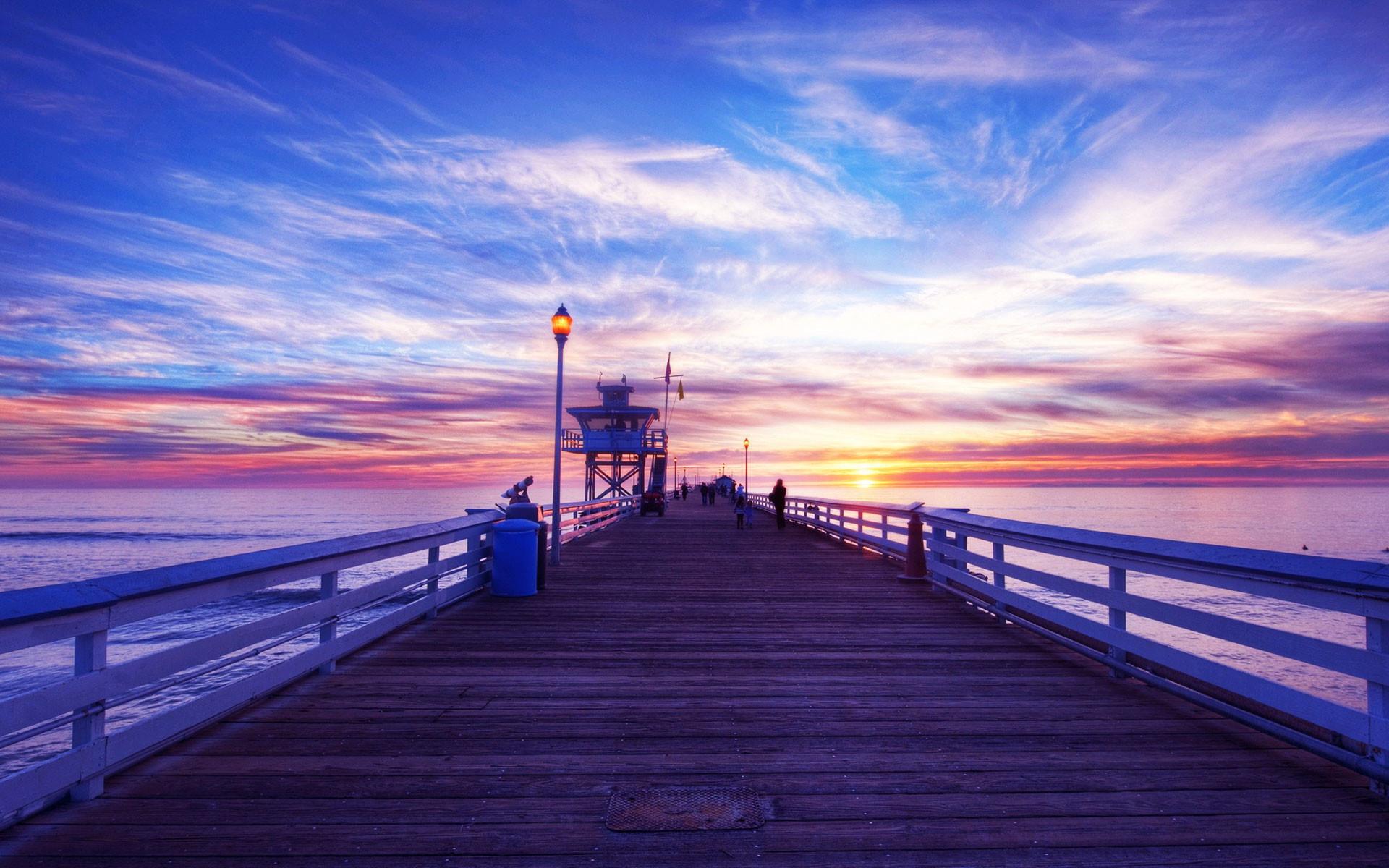 Pier sunset background
