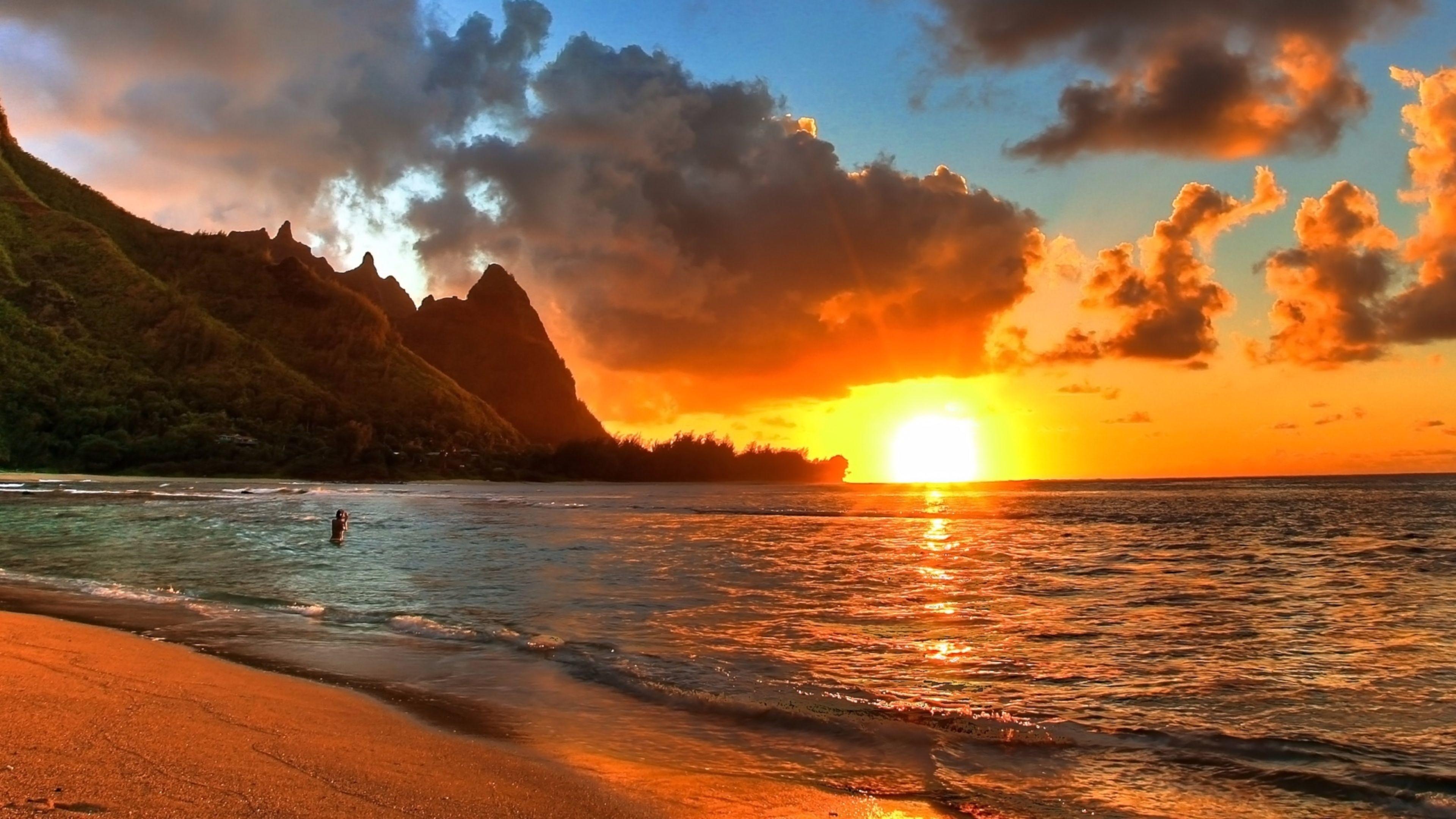 Romantic Beach Sunset Background