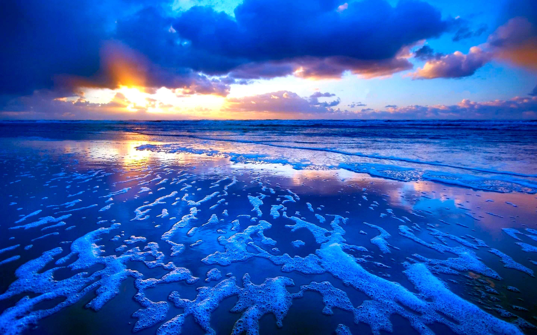 Blue Beach Sunset Background