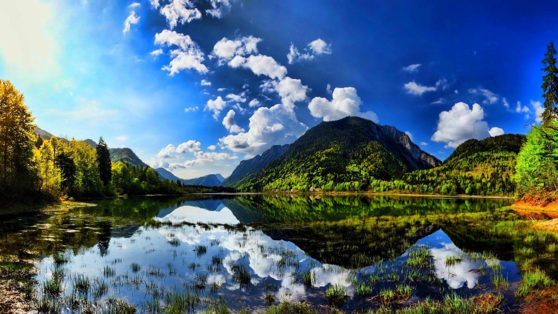 How to set this Summer sunshine scenes lake mountain wallpapers on .